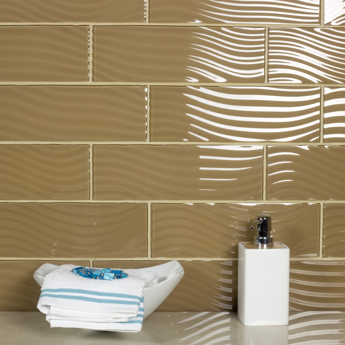 Pacific 4 In X 12 In Glass Subway Tile In SEPIA Glossy