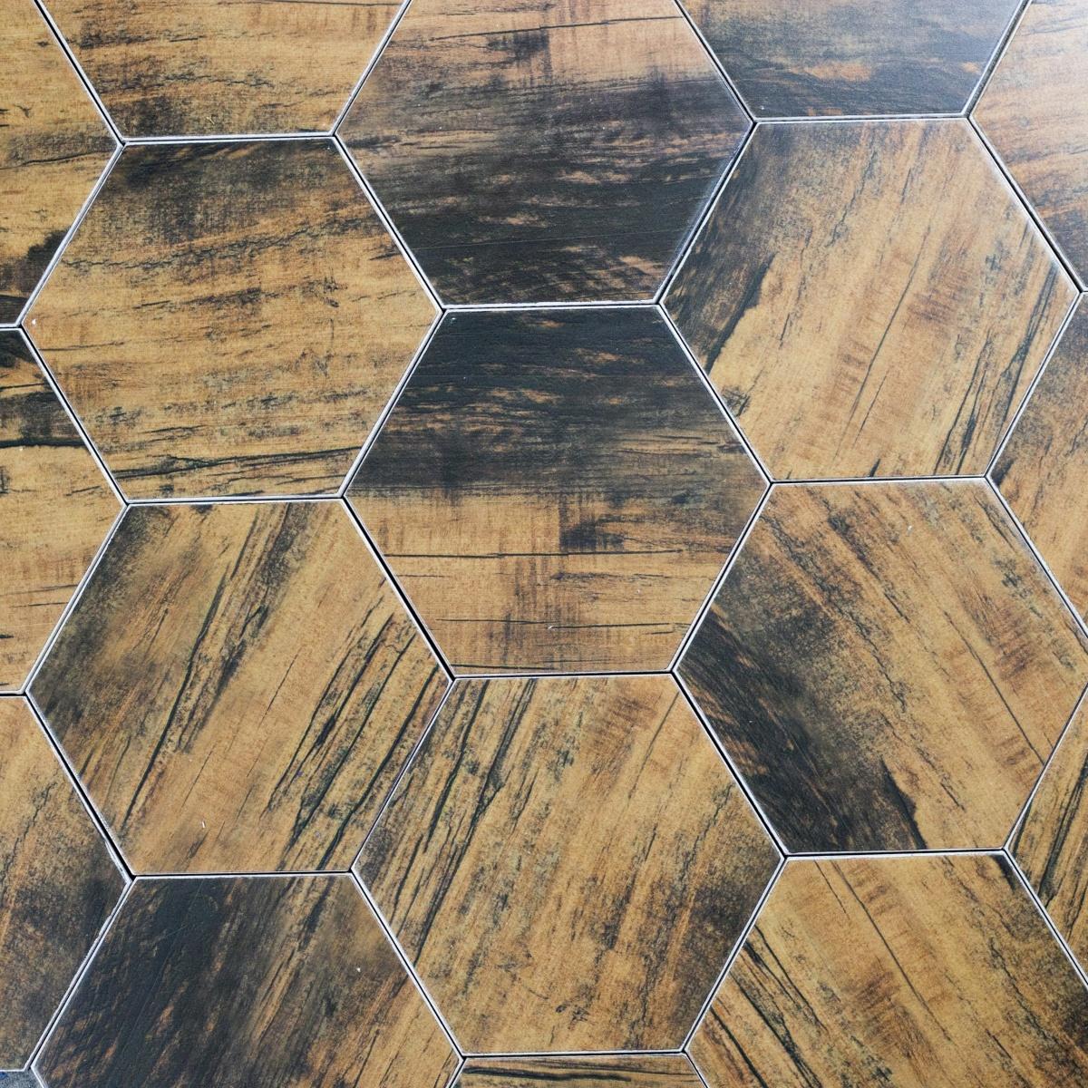 Artisan Wood 8 X 8 Ceramic Hexagon Wood Look Tile In Black Walnut