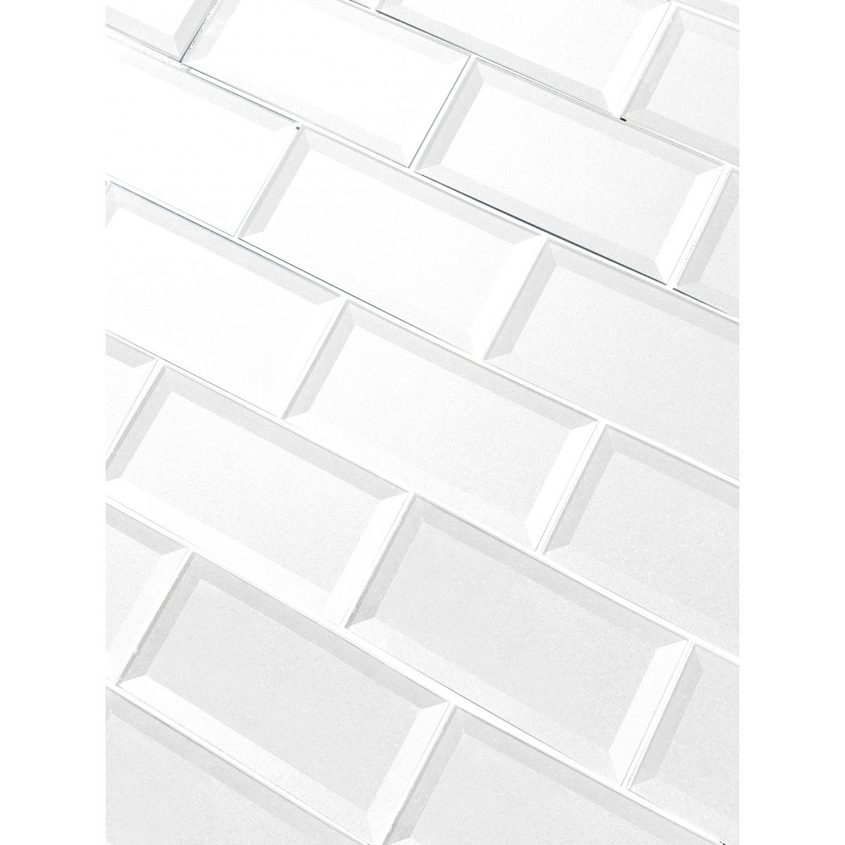 Forever 3 In X 6 In Glass Subway Tile In Eternal White Beveled