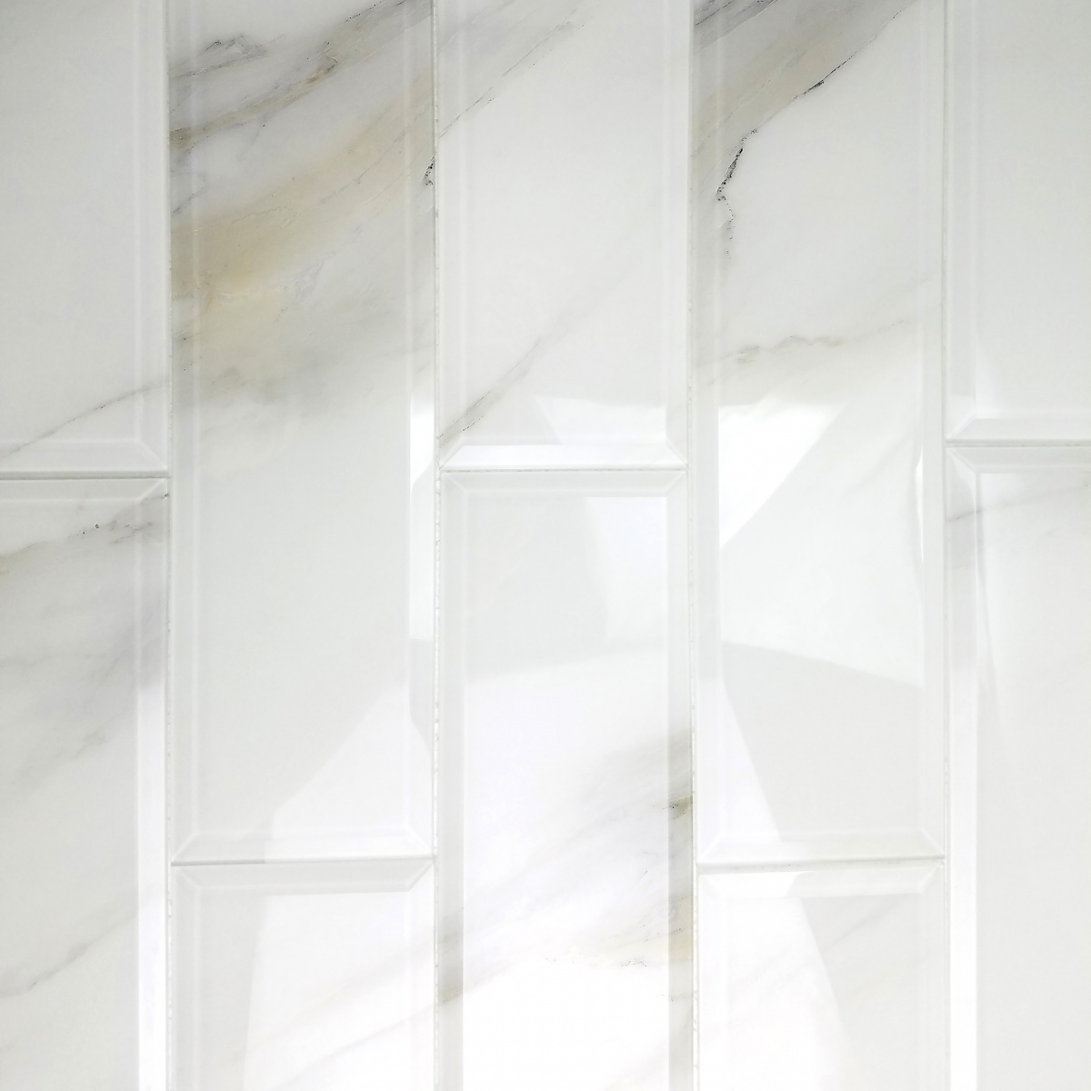 Nature 4 x 16 glass beveled marble look tile in for 16 pane window