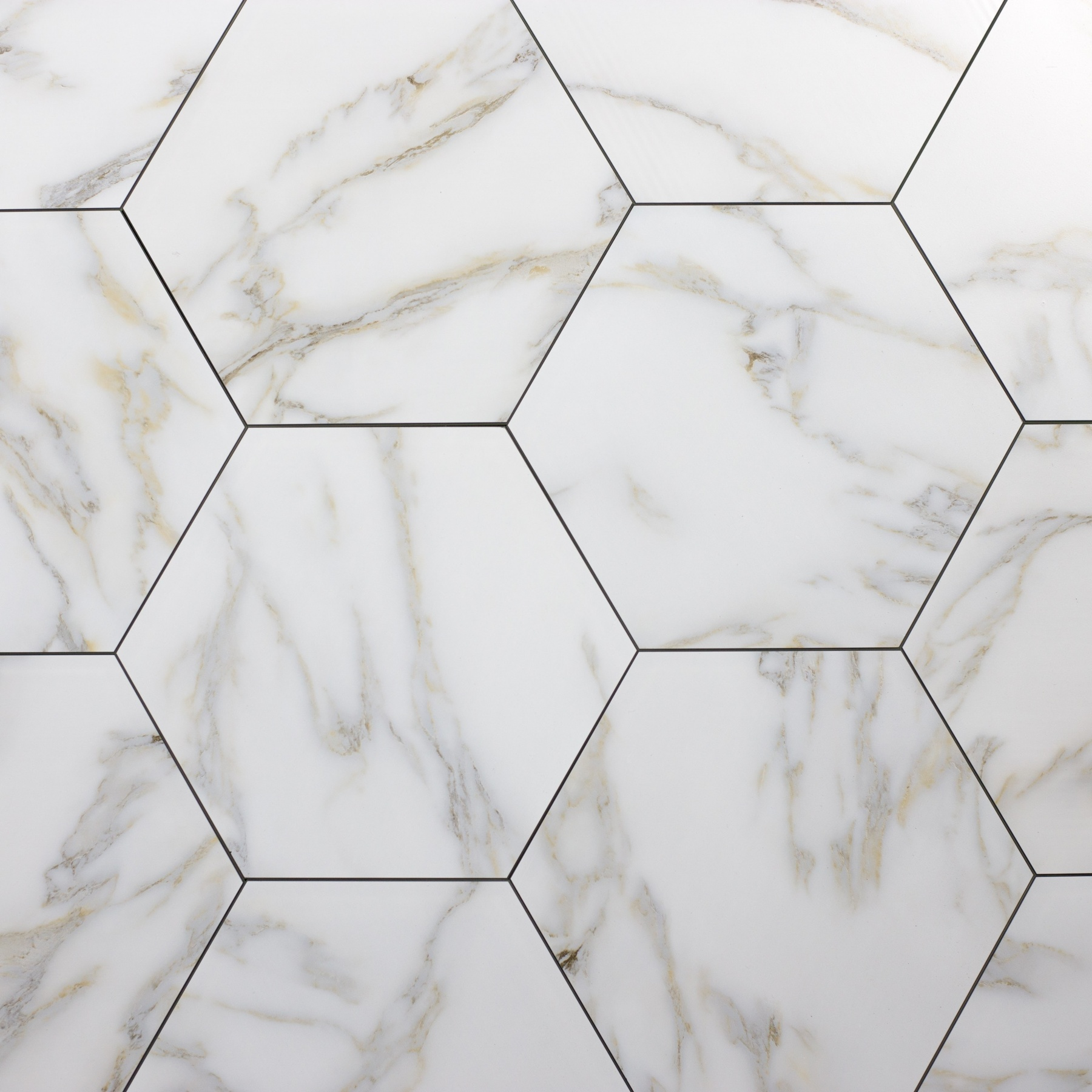 Nature Hexagon Glass Marble Look Tile In Calacatta Gold