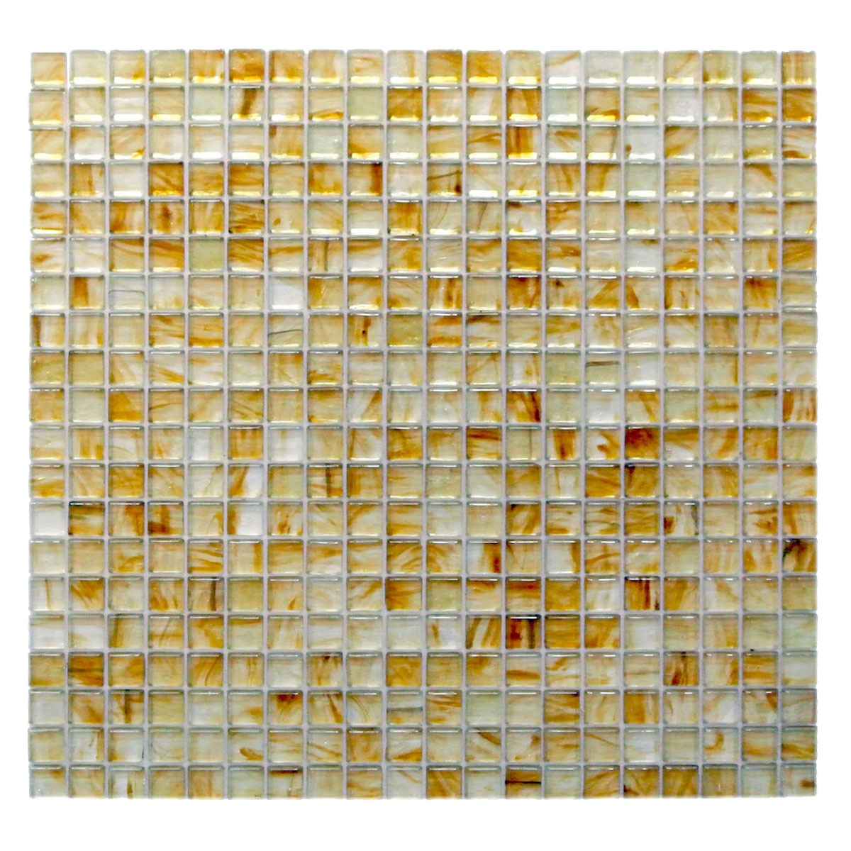 Amber 0.625 in x 0.625 in Glass Square Mosaic in MIELE Glossy