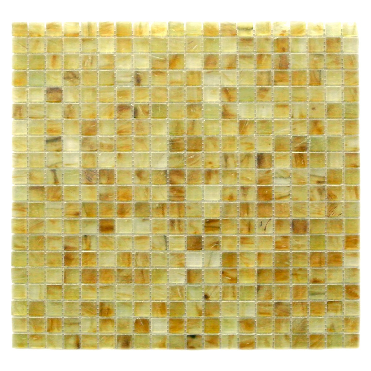 Amber 0.625 in x 0.625 in Glass Square Mosaic in MIELE  Matte