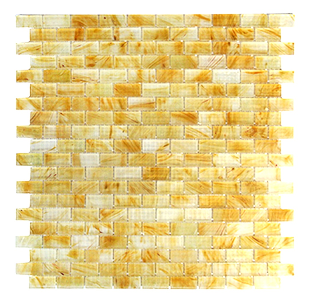 Amber 0.625 in x 1.25 in Glass Rectangle Mosaic in MIELE  Matte