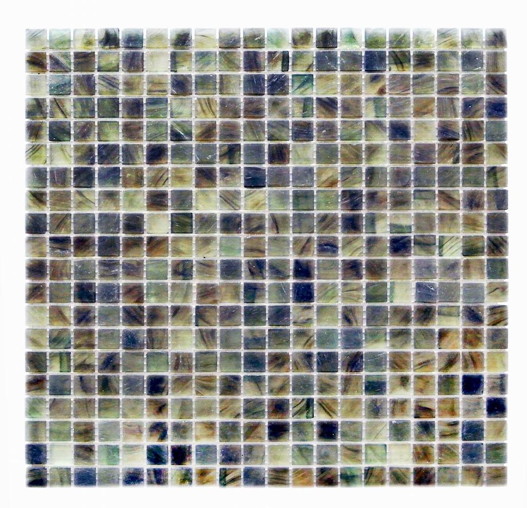 "Amber 0.625"" x 0.625"" Matte Green Glass Square Backsplash Mosaic Wall Tile"