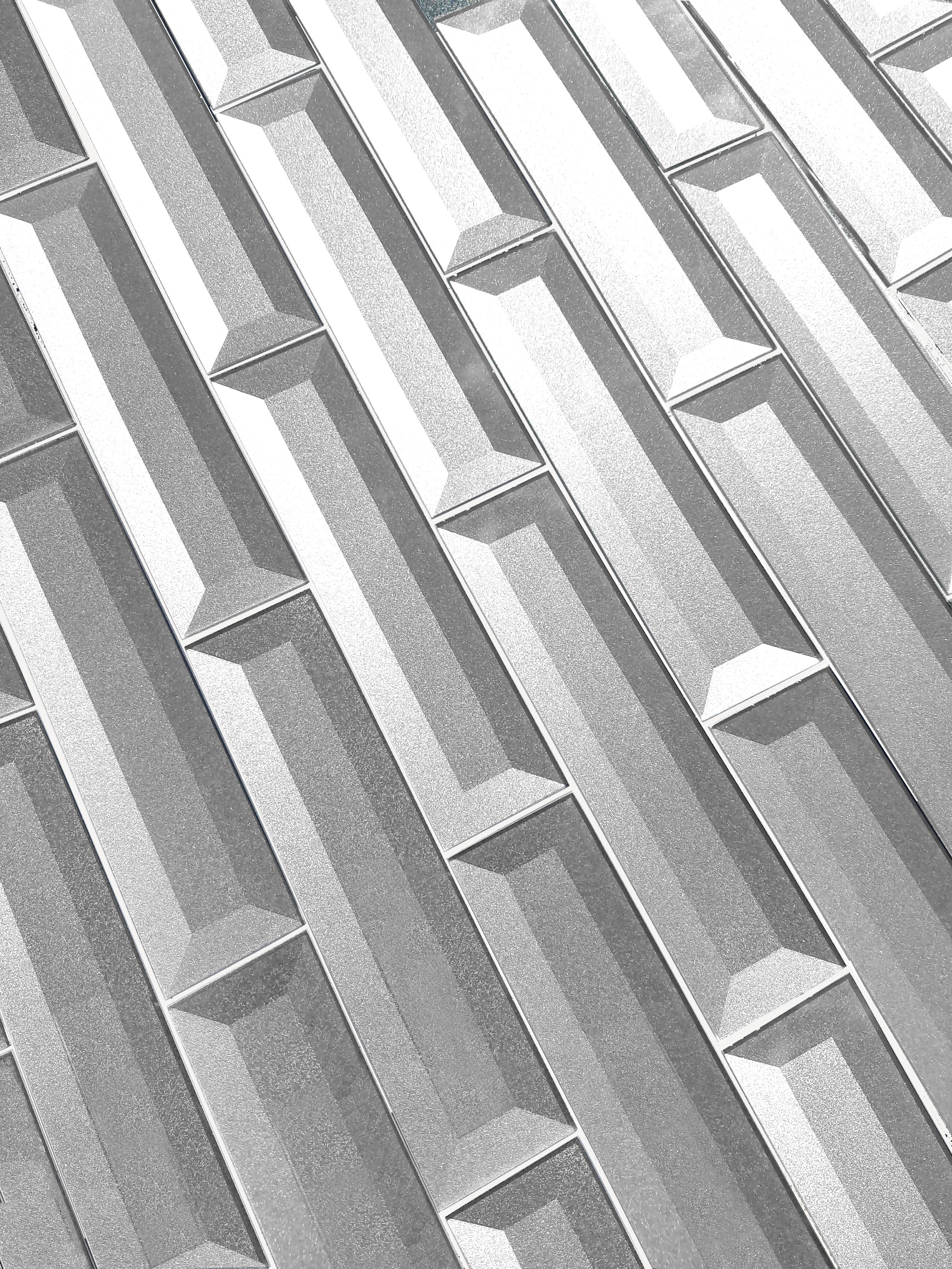 """Forever 2"""" x 8"""" Beveled Silver Glass Loose Backsplash Wall Tile"""