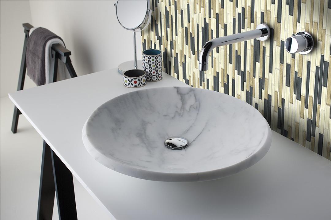 "Geo 0.5"" x 3"" Textured Beige Glass Linear Backsplash Mosaic Wall Tile"