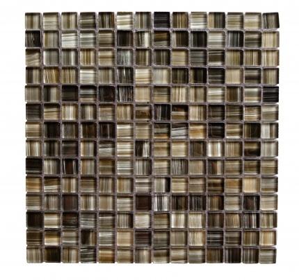 "Handicraft II 0.75"" x 0.75"" Glossy Black Glass Square Backsplash Mosaic Wall Tile"
