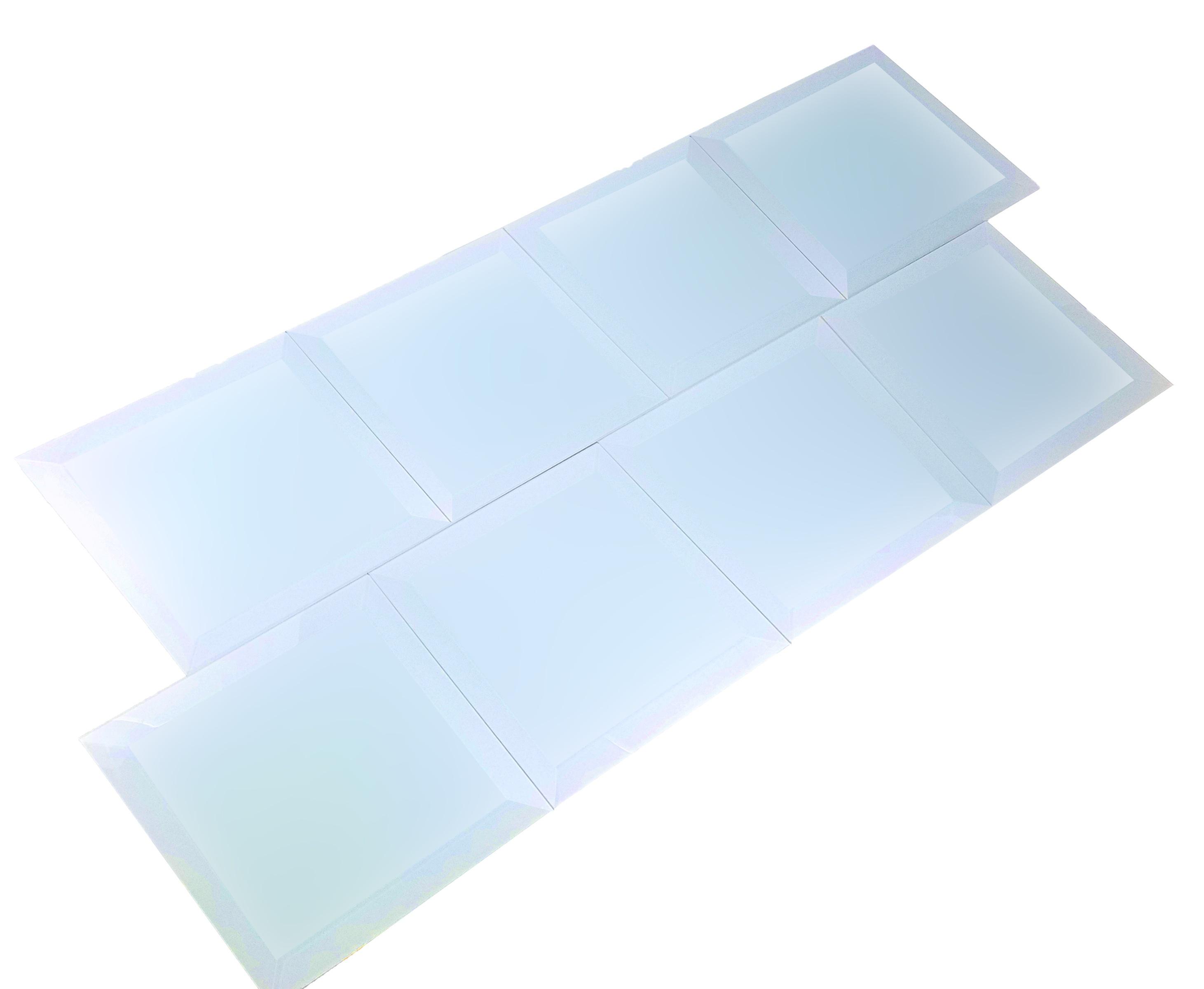 "Frosted Elegance 8"" x 8"" Matte Blue Glass Field Backsplash Wall Tile"