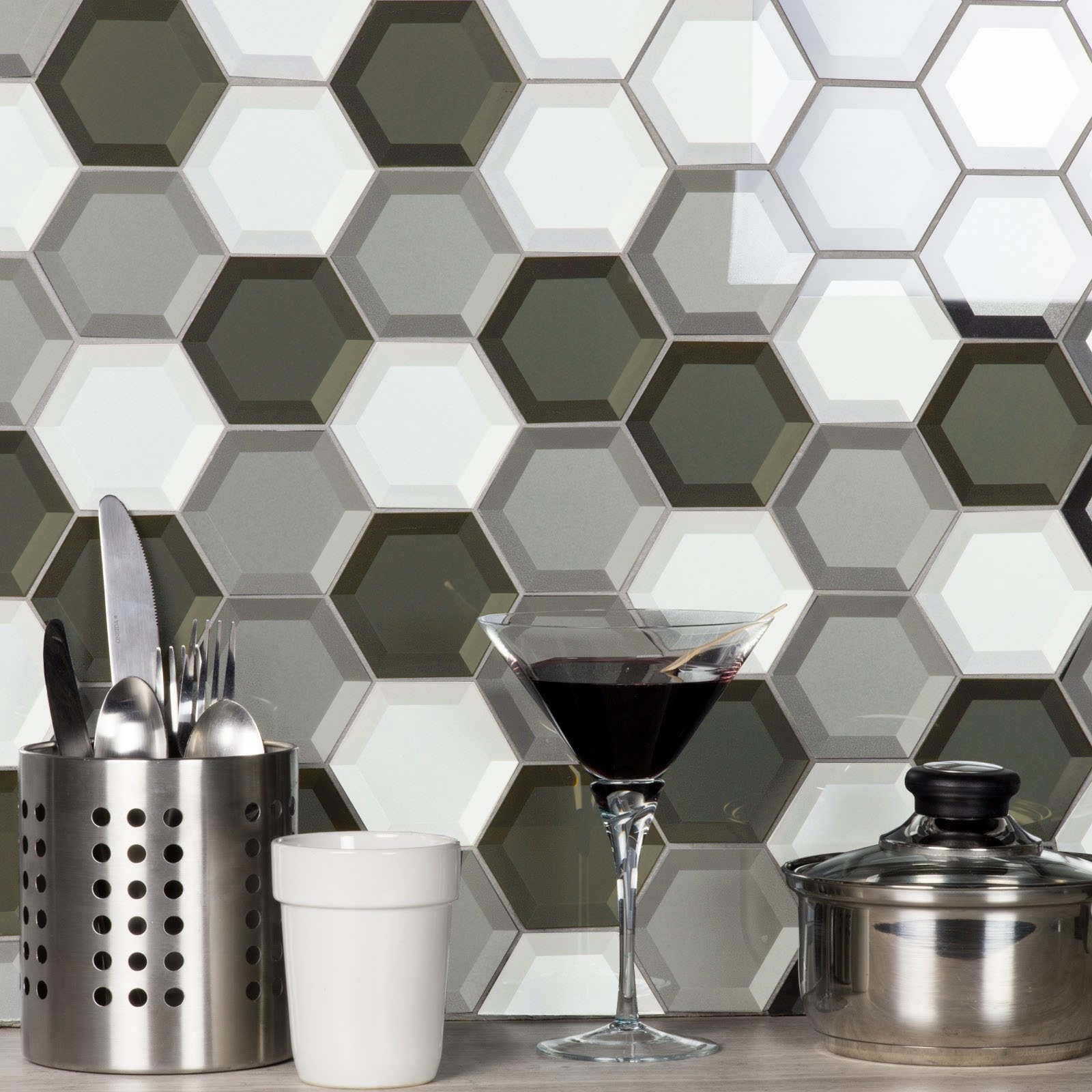 Forever 3 in x 3 in Glass Hexagon Mosaic in WARM GRAY Beveled
