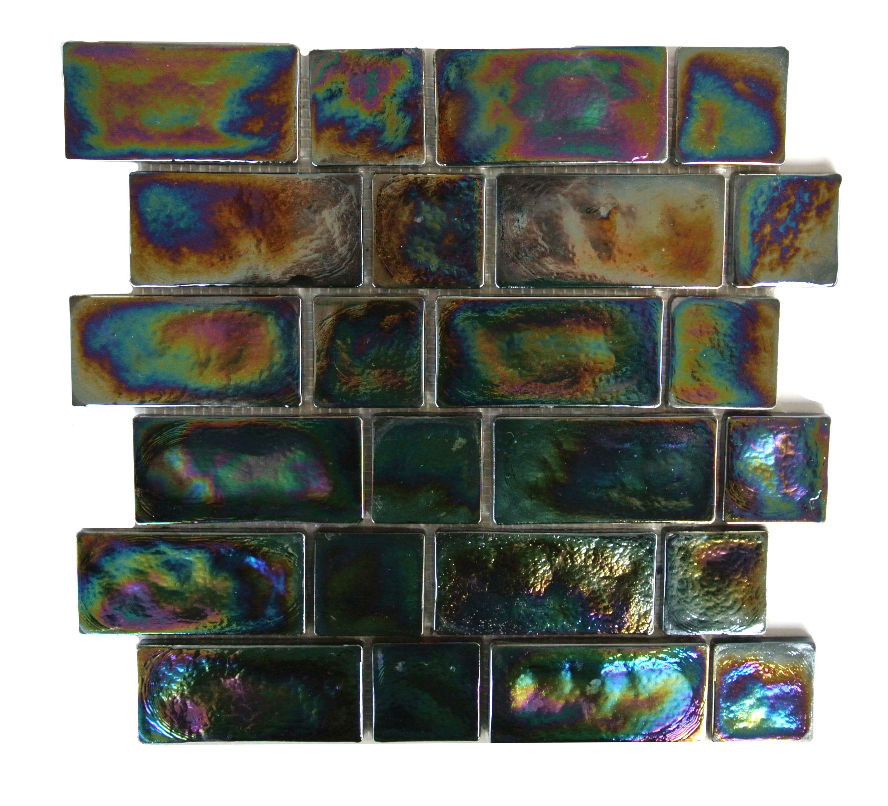 Atmosphere 11.75 in x 11.75 in Glass Brick Mosaic in BLACK PEARL Glossy Iridescent