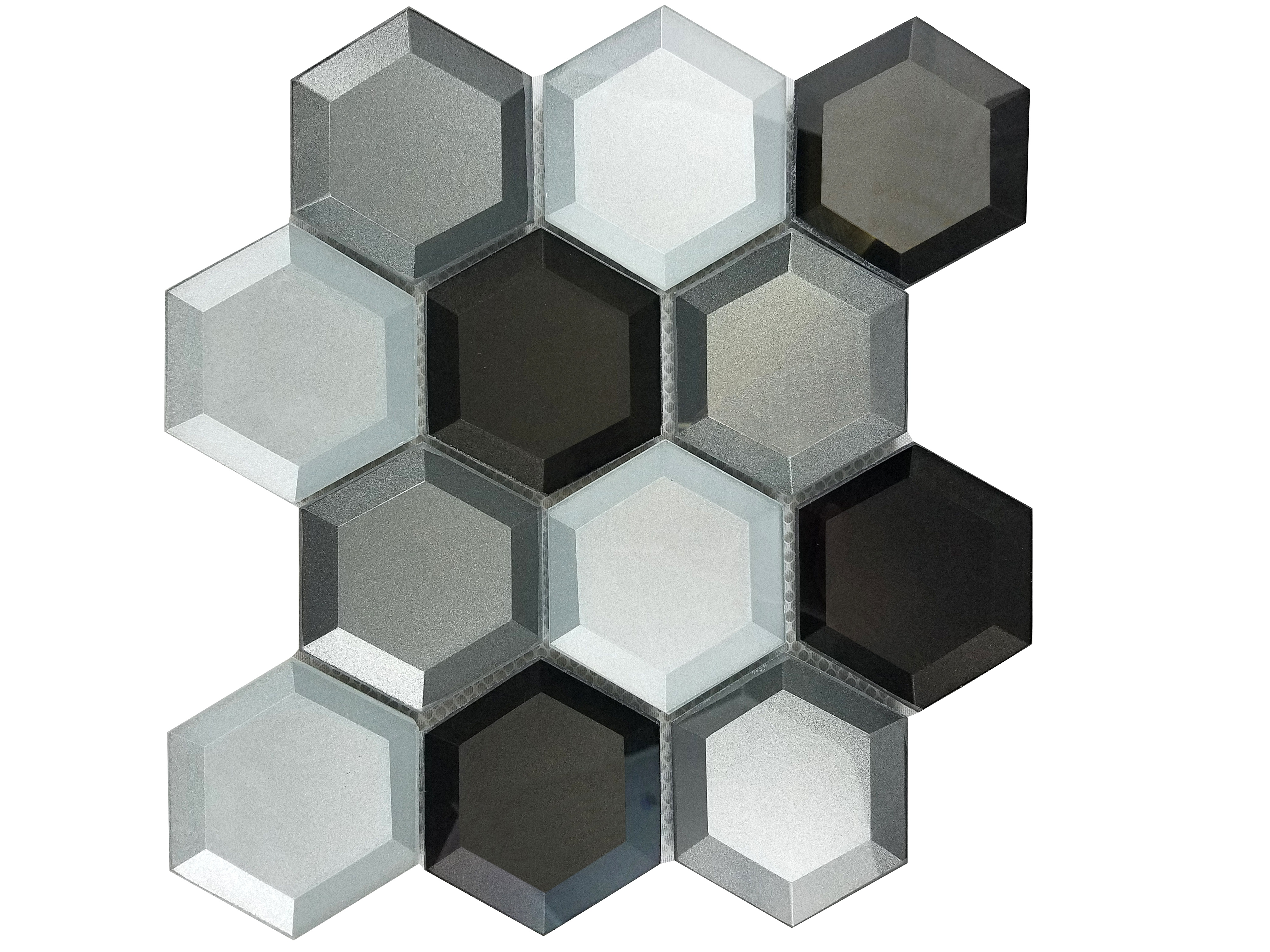 Illusion 2.875 in x 3.25 in Glass Hexagon Mosaic in GRAY Beveled Glossy
