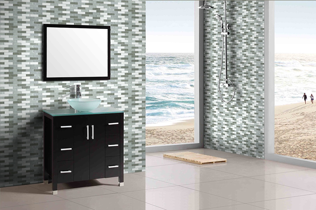 "Geo 1"" x 4"" Textured Gray Glass Linear Backsplash Mosaic Wall Tile"