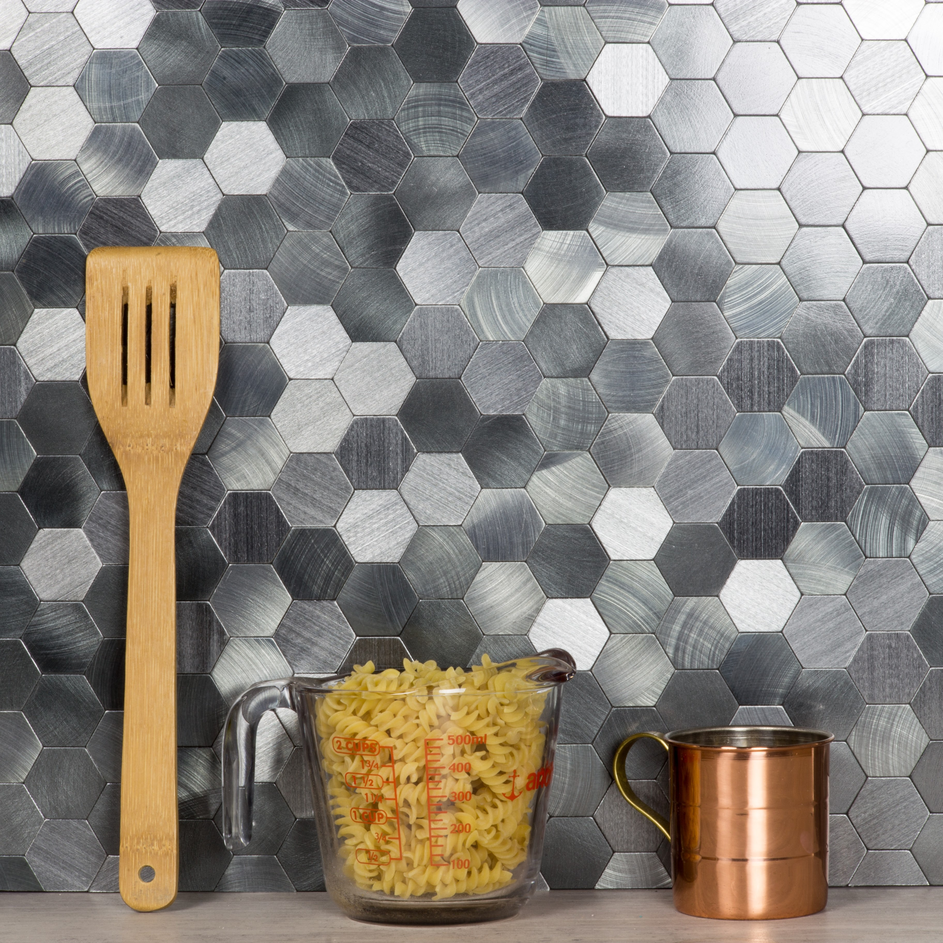 "Enchanted Metals Wall Backsplash Hexagon 12"" x 12"" Peel and Stick Metal Mosaic Tile in Silver"