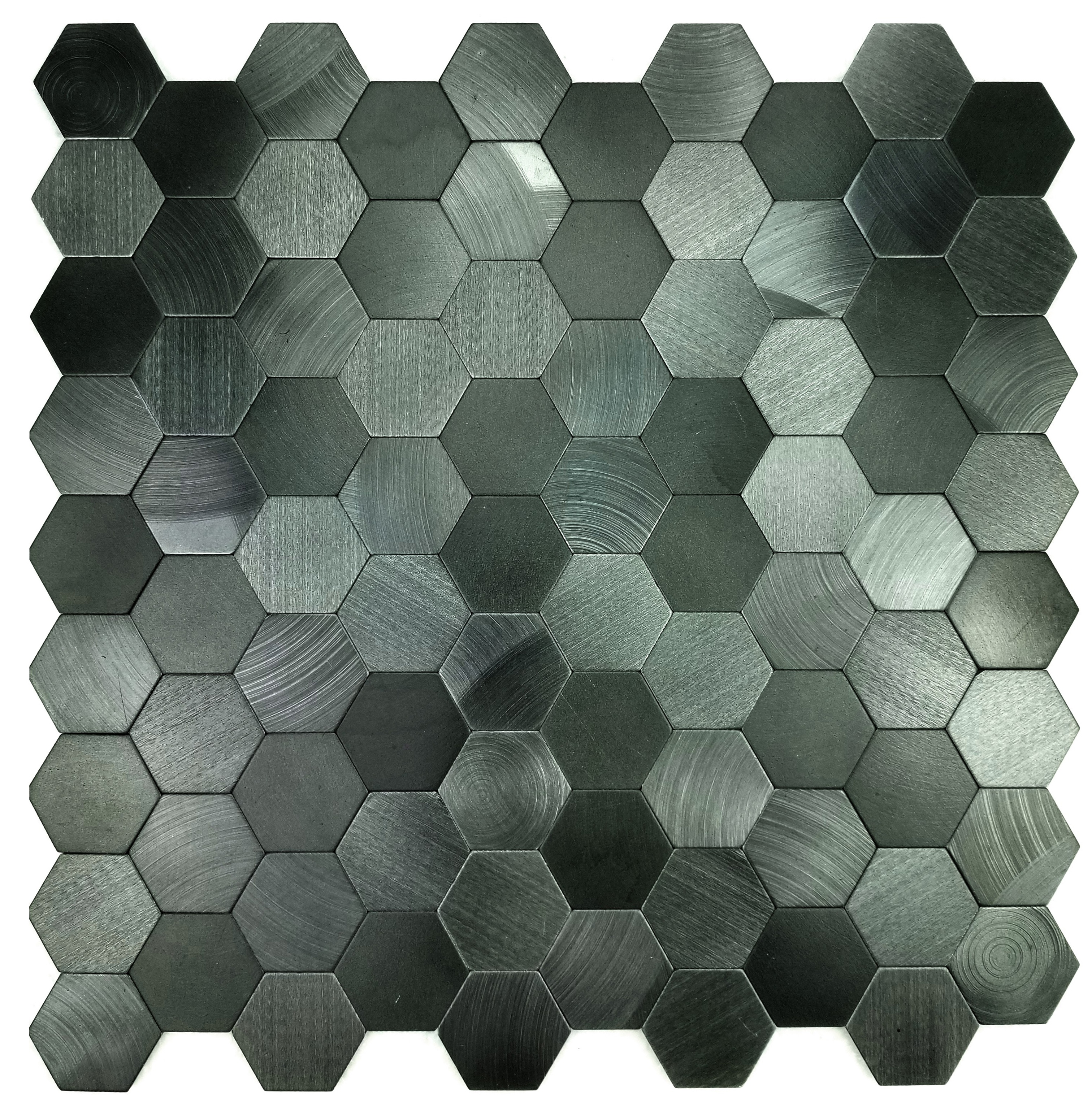 Enchanted Metals 1.3125 in x 1.3125 in Aluminum Hexagon Mosaic in SPACE BLUE Brushed