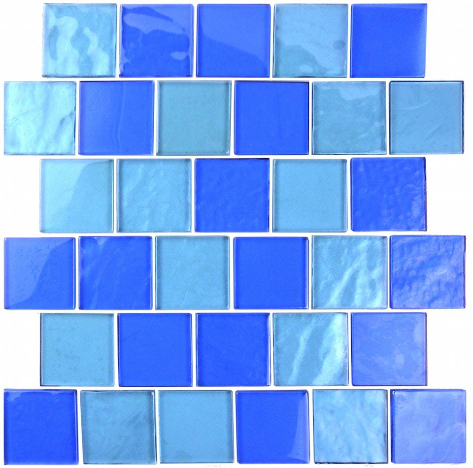 "Landscape 2"" x 2"" Textured Blue Glass Brick Backsplash Mosaic Wall & Floor Tile"