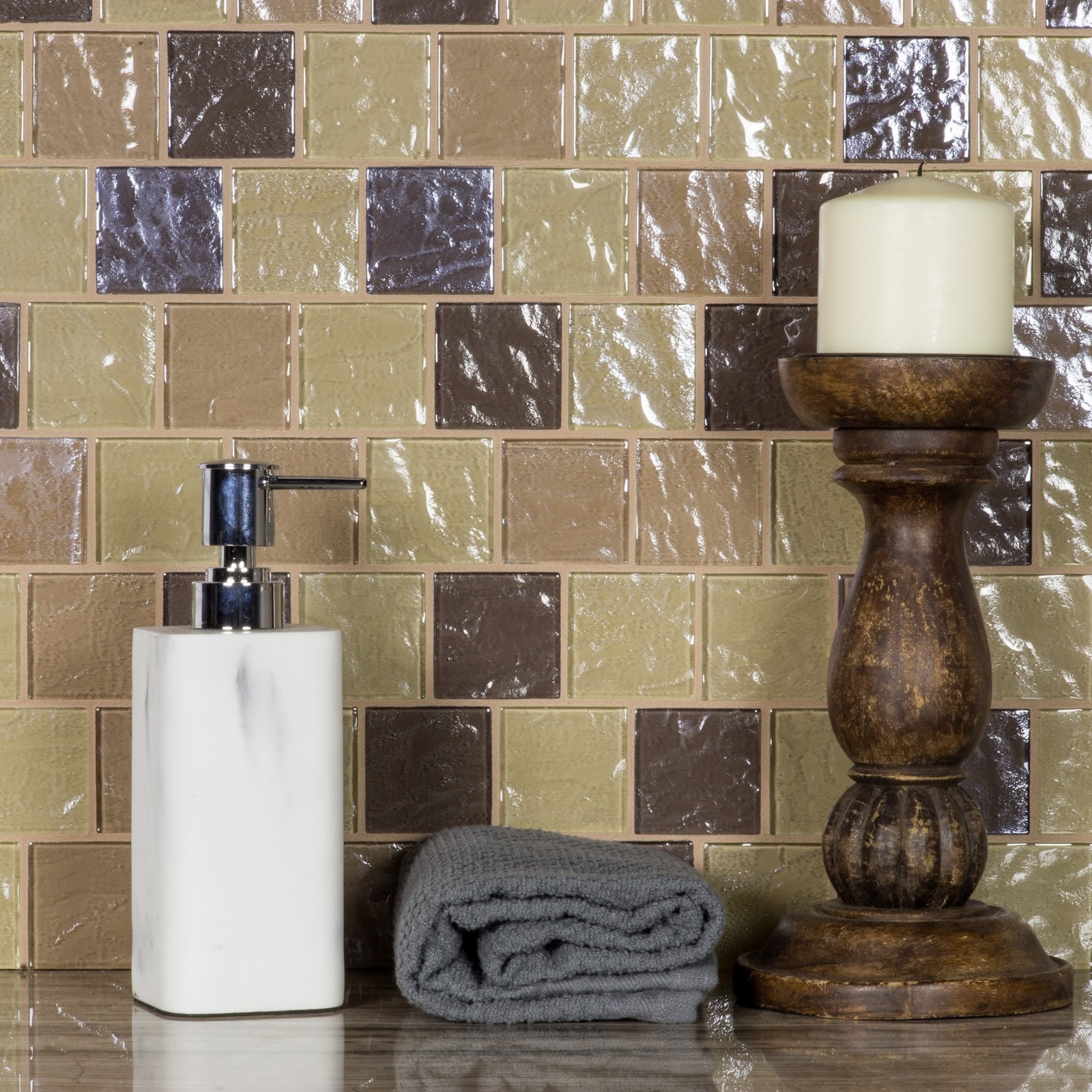Geo 2 in x 2 in Glass Brick Mosaic in PUPUKEA Textured