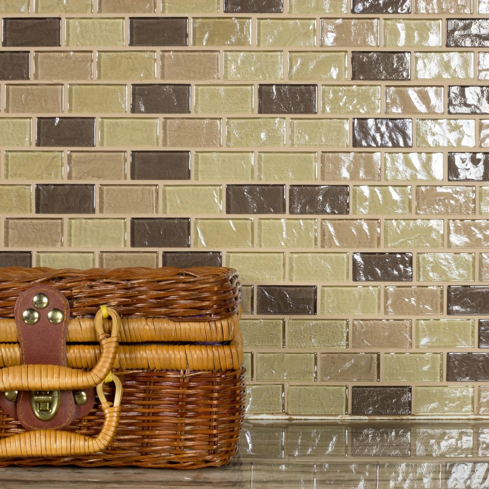 Geo 1 in x 2 in Glass Brick Mosaic in PUPUKEA Textured
