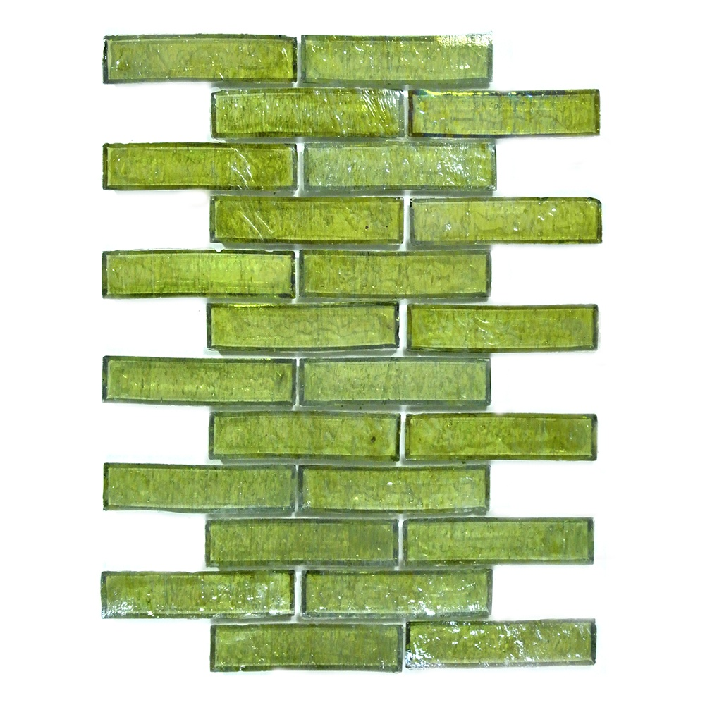 Bamboo 1 in x 4 in Glass Brick Mosaic in OLIVA Iridescent