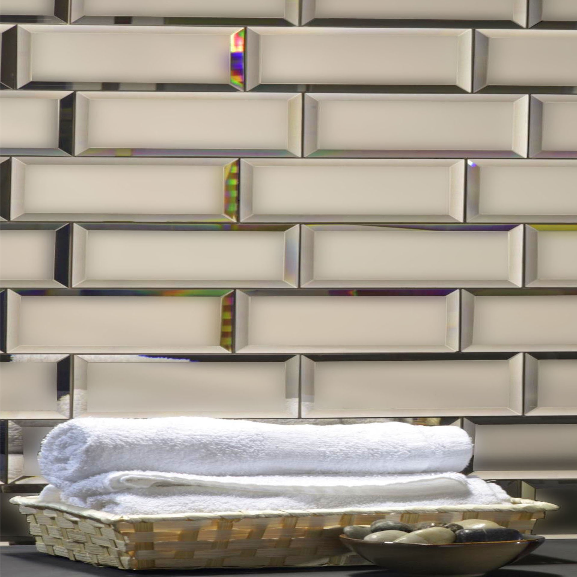 Reflections 3 in x 12 in Mirror Subway Tile in GOLD Matte