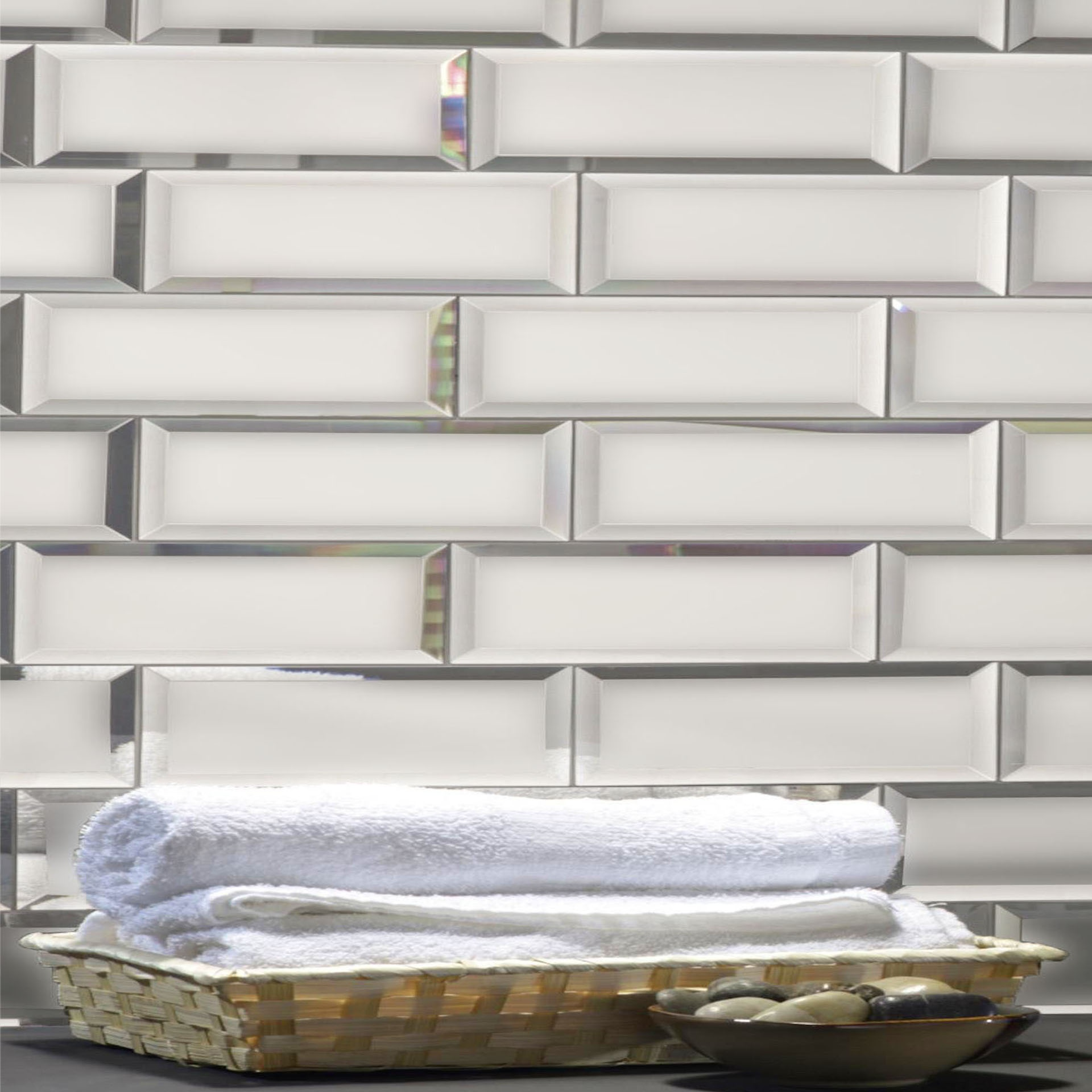 Reflections 3 in x 12 in Mirror Subway Tile in SILVER Matte