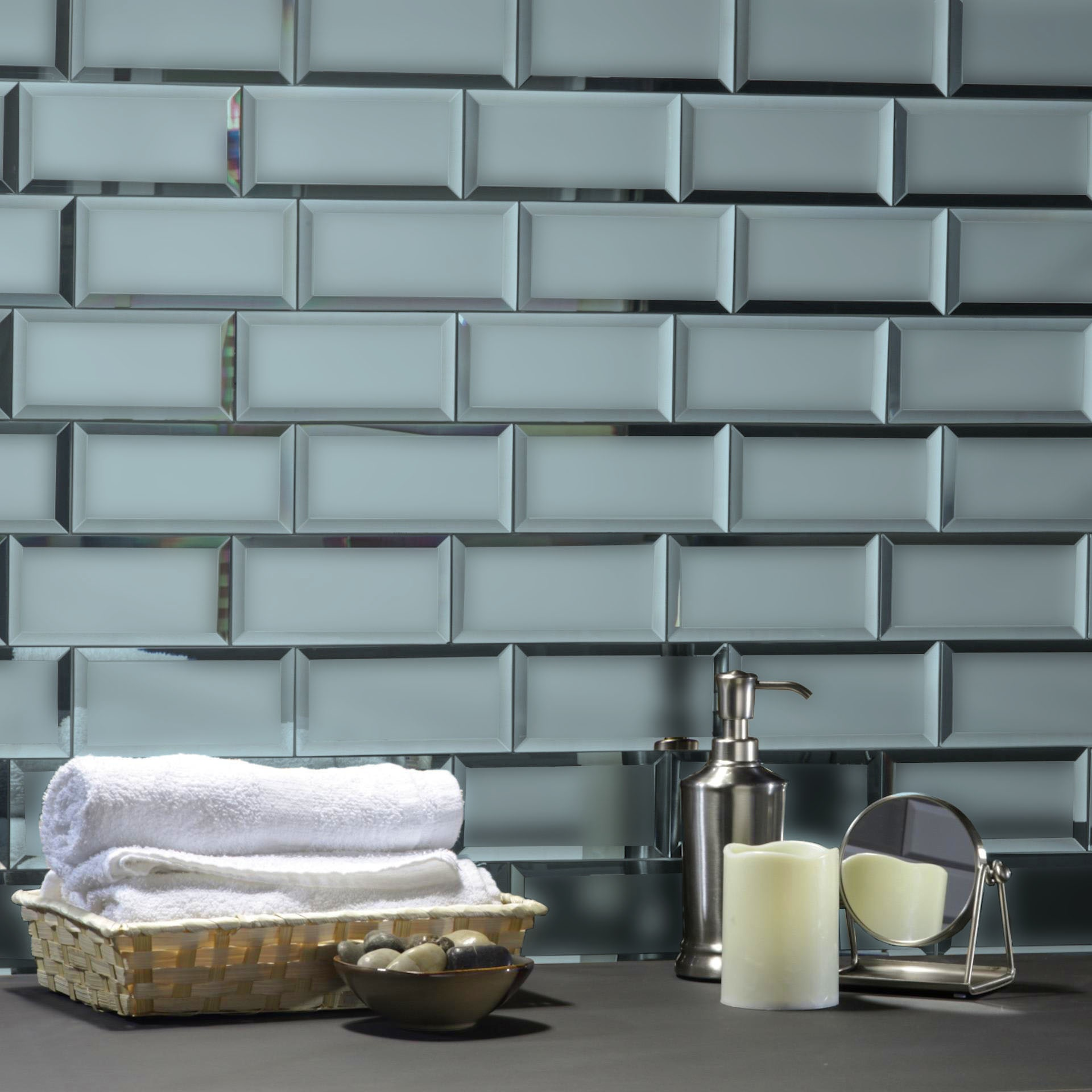 "Reflections 3"" x 6"" Matte Gray Mirror Subway Backsplash Wall Tile"