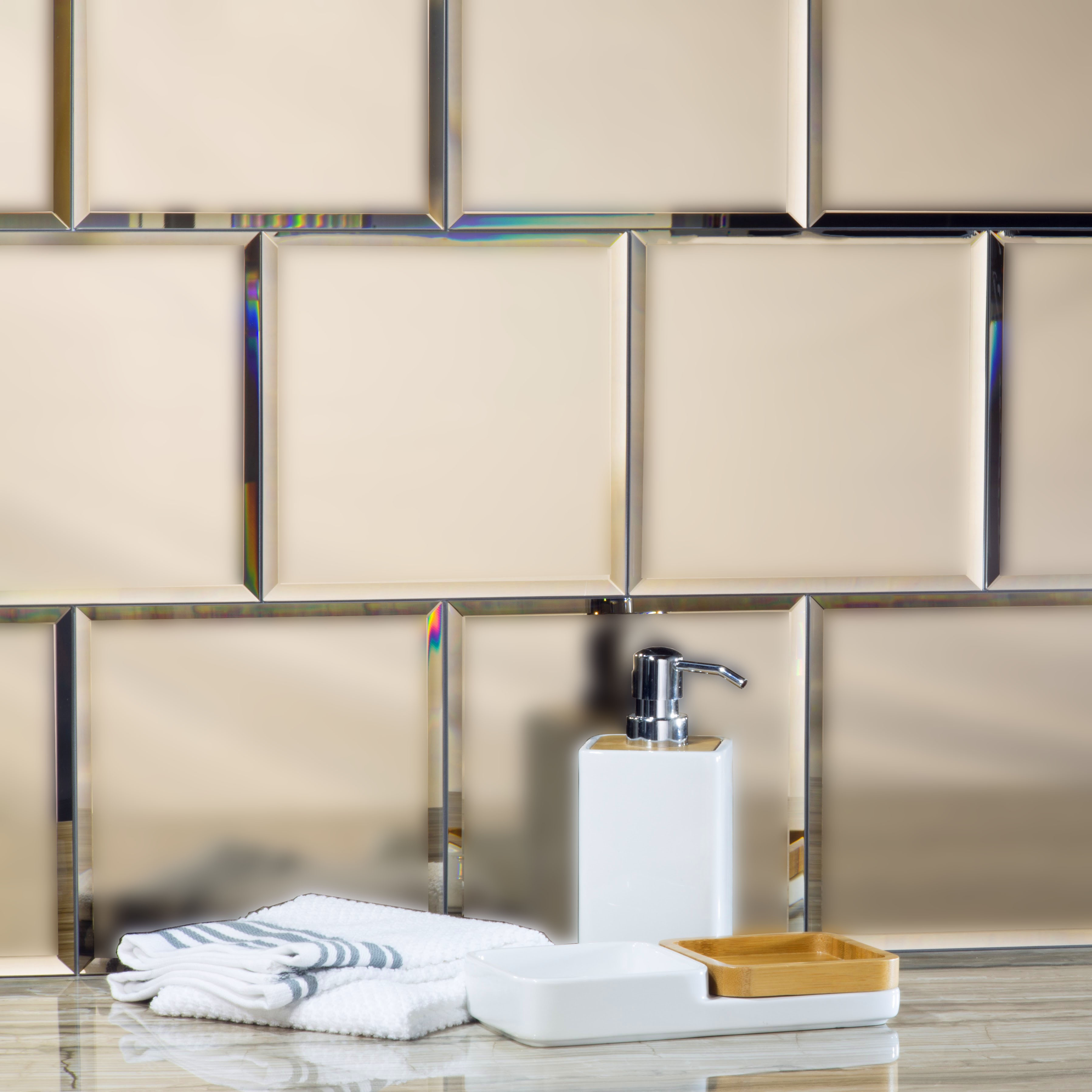 "Reflections 8"" x 8"" Matte Gold Mirror Field Backsplash Wall Tile"