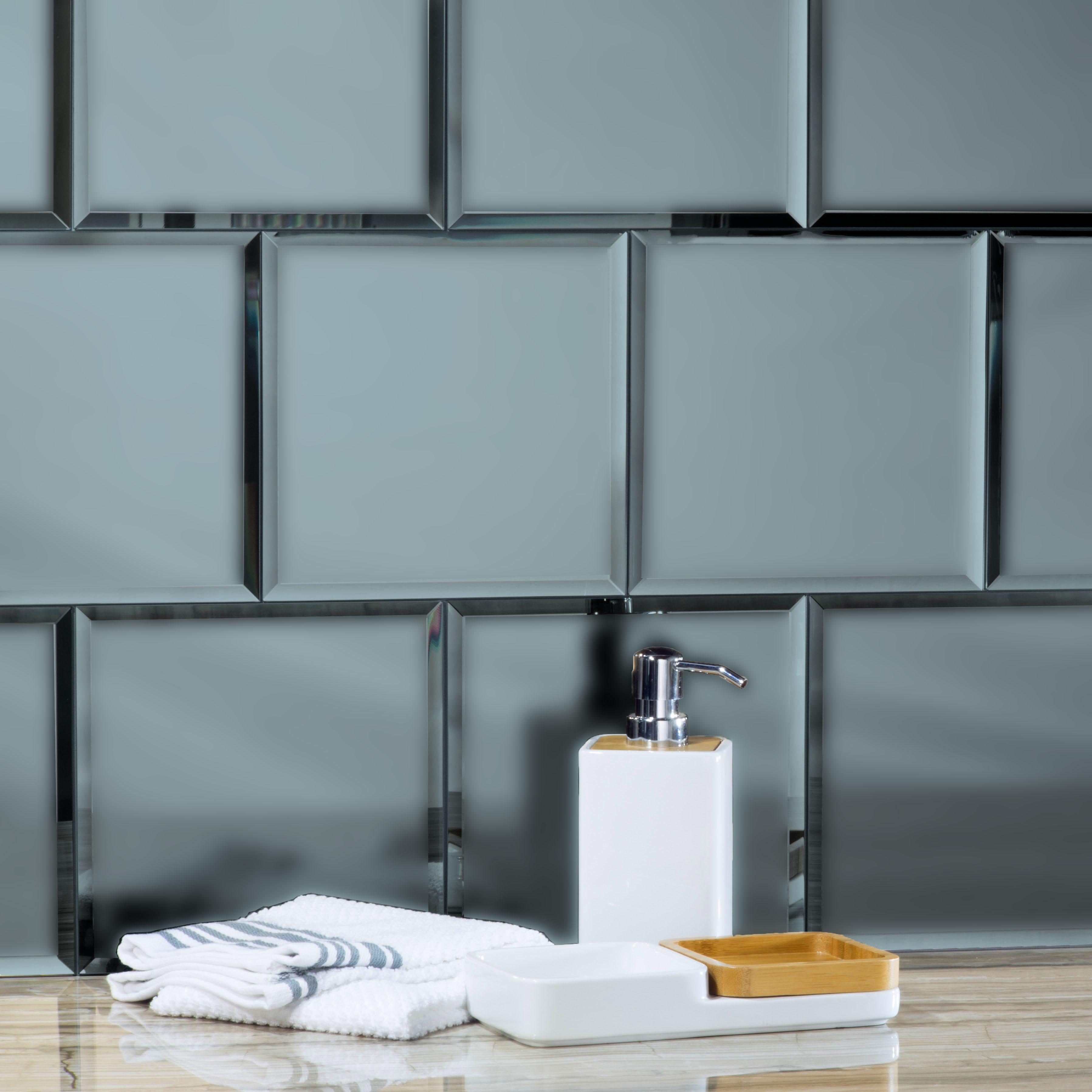 "Reflections 8"" x 8"" Matte Gray Mirror Field Backsplash Wall Tile"