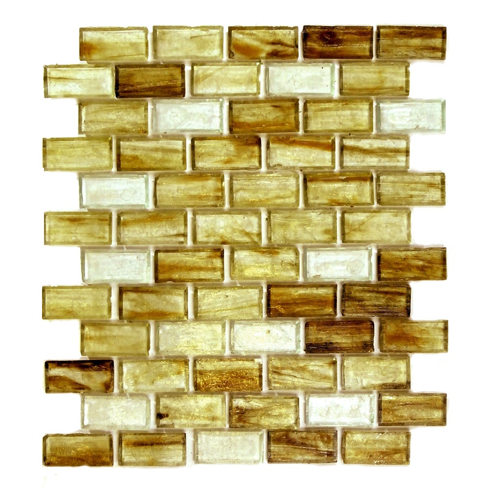 Classic 1 in x 2 in Glass Brick Mosaic in TORTOISE SHELL Glossy