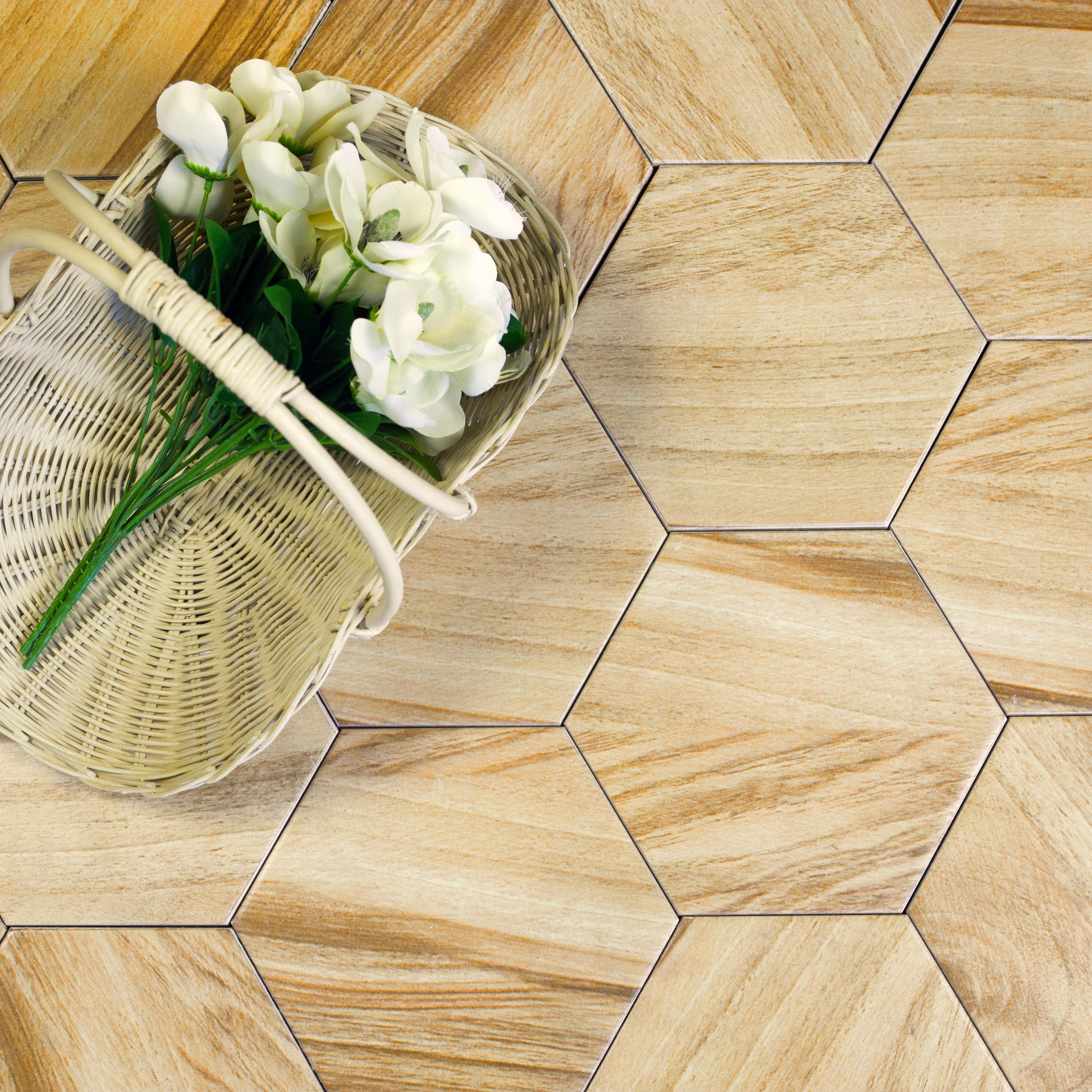 Artisan Wood 8 in x 8 in Ceramic Hexagon Tile in FRESH PINE Matte