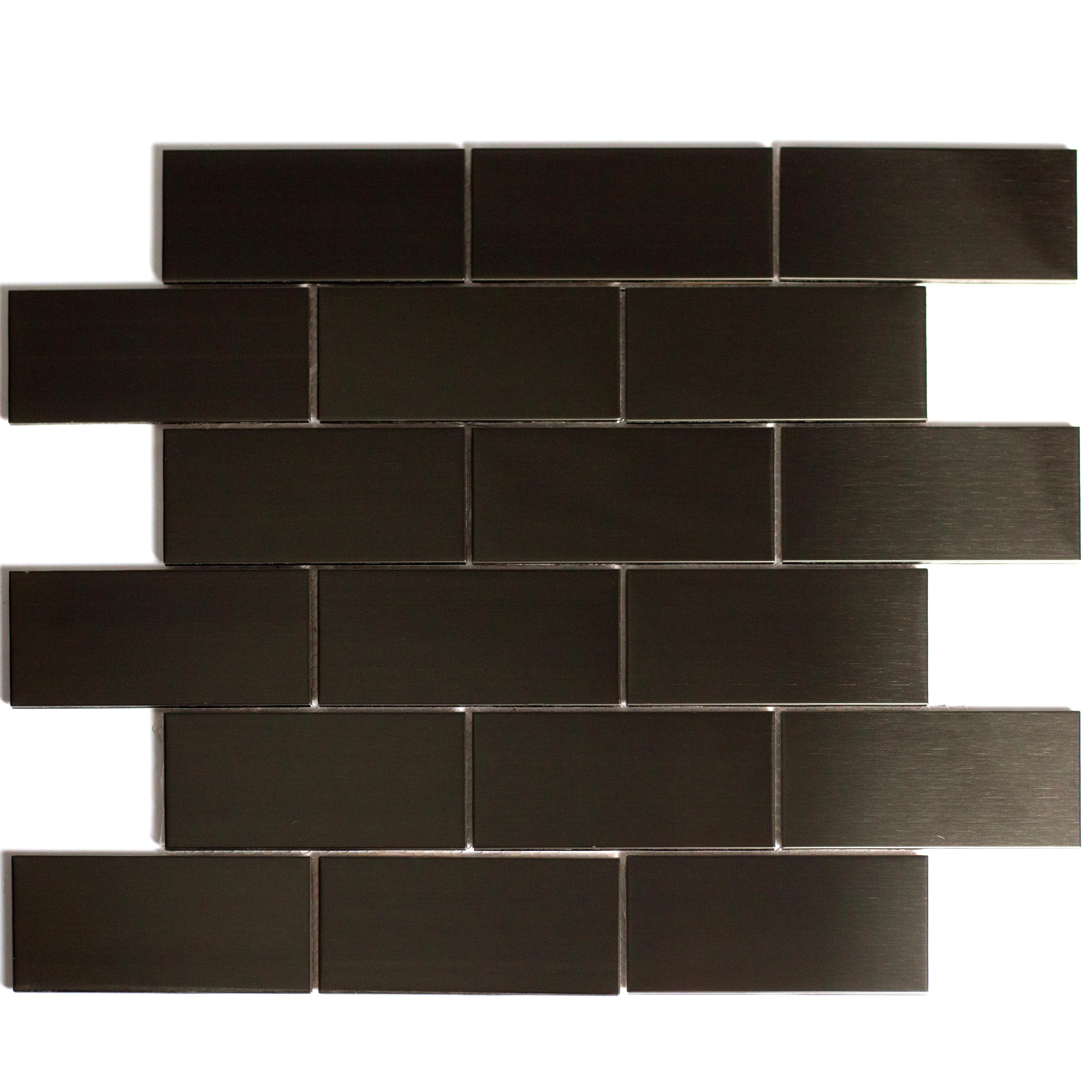 "Enchanted Metals 2"" x 4"" Smooth Bronze Stainless Steel Brick Backsplash Mosaic Wall Tile"