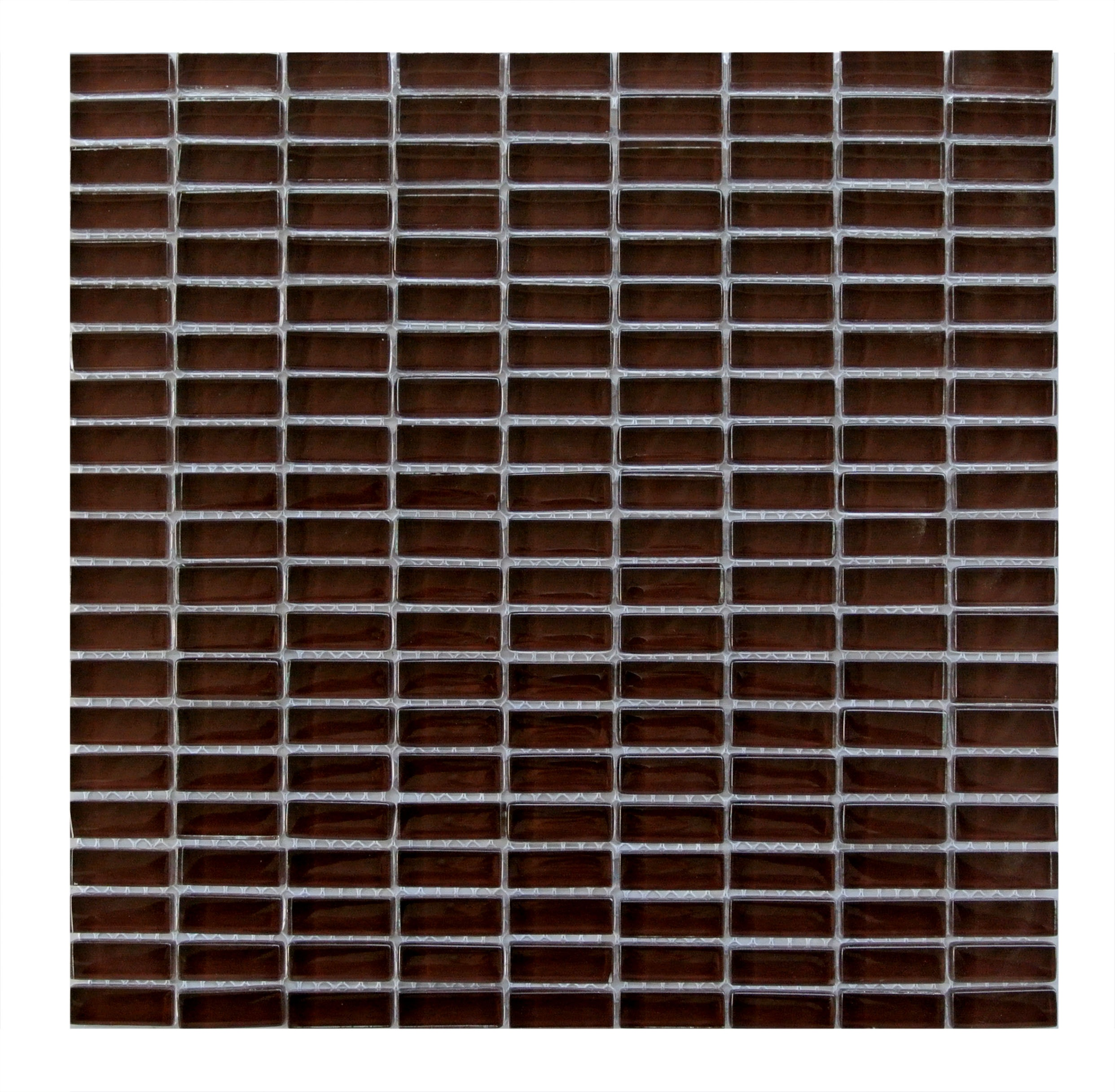 Epiphany 0.5 in x 1.25 in Glass Rectangle Mosaic in BROWN Glossy