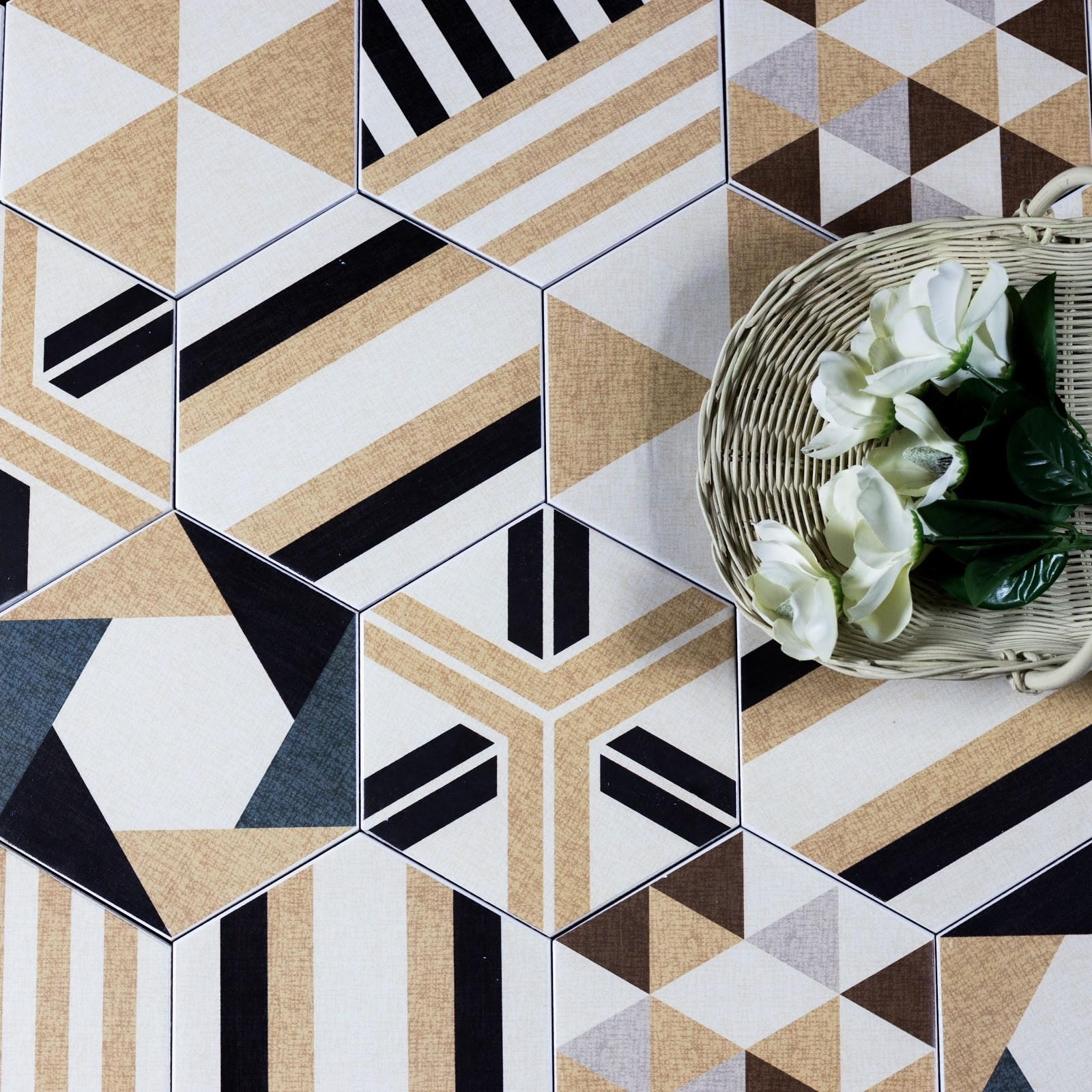 "Fabrica 8"" x 8"" Matte Beige Ceramic Hexagon Backsplash Wall & Floor Tile"