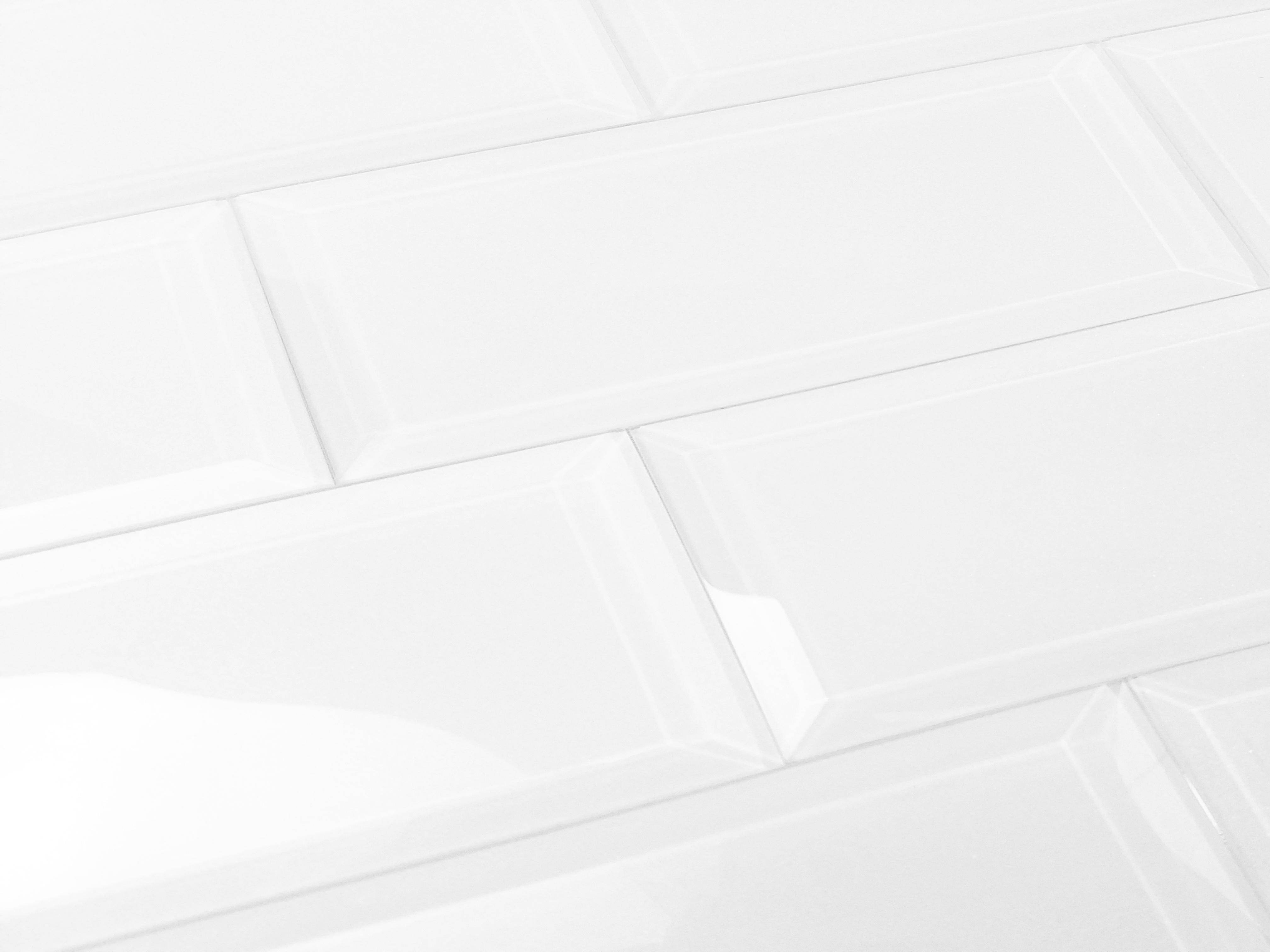 "Frosted Elegance 3"" x 12"" Glossy White Glass Subway Backsplash Wall Tile"