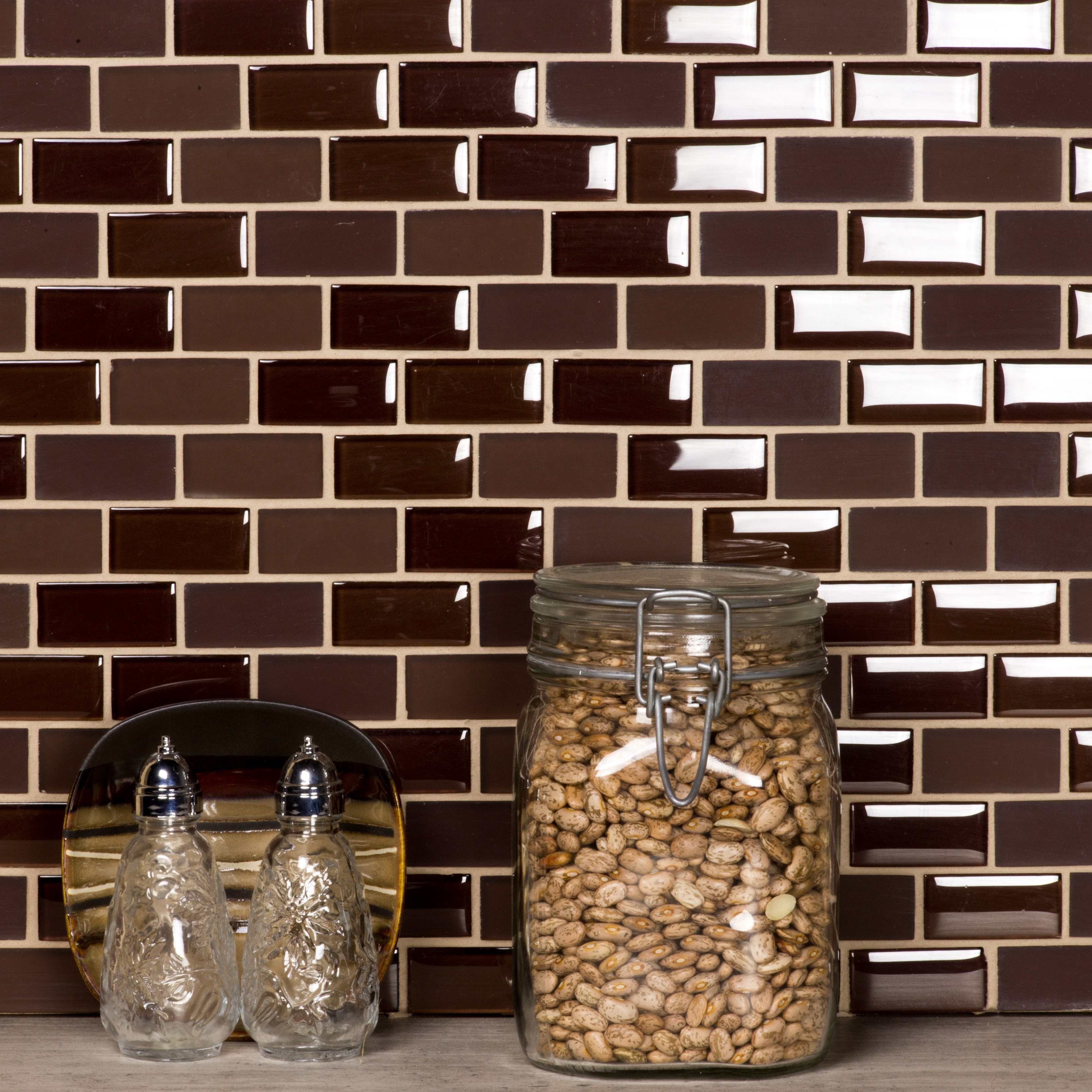 Free Flow 1 in x 2 in Glass Brick Mosaic in COFFEE Blend