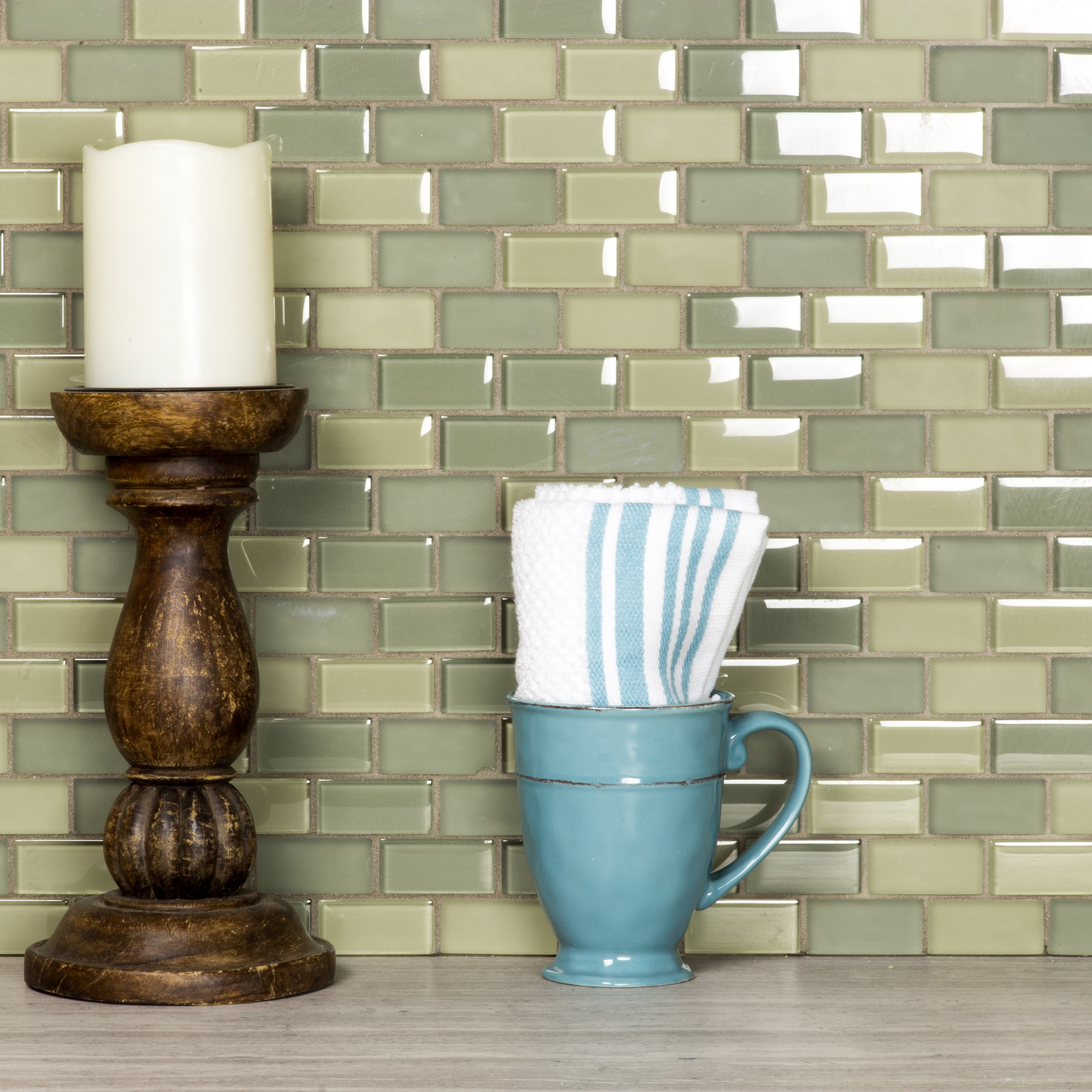 Free Flow 1 in x 2 in Glass Brick Mosaic in FOG Blend
