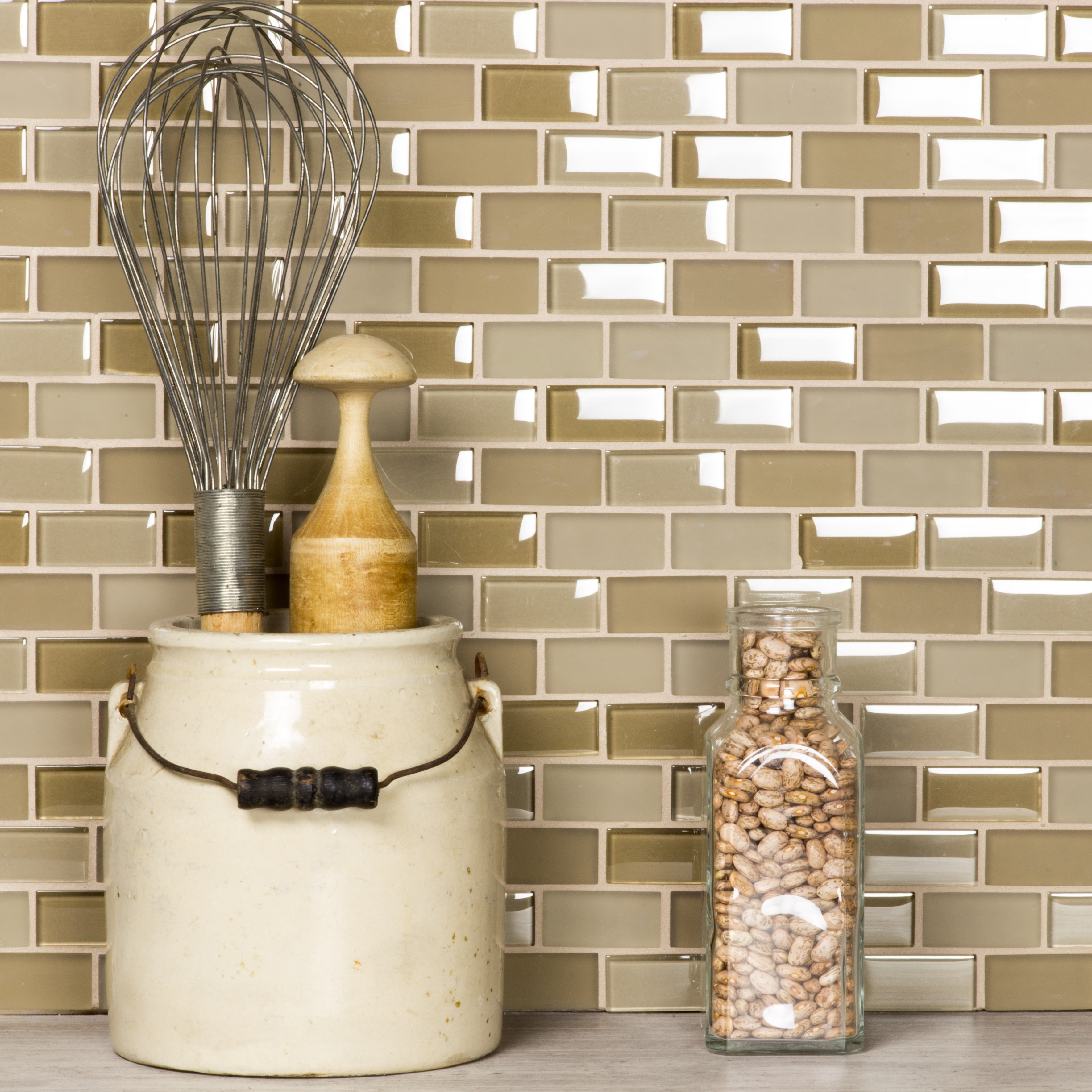 "Free Flow 1"" x 2"" Multi Finish Beige Glass Brick Backsplash Mosaic Wall & Floor Tile"