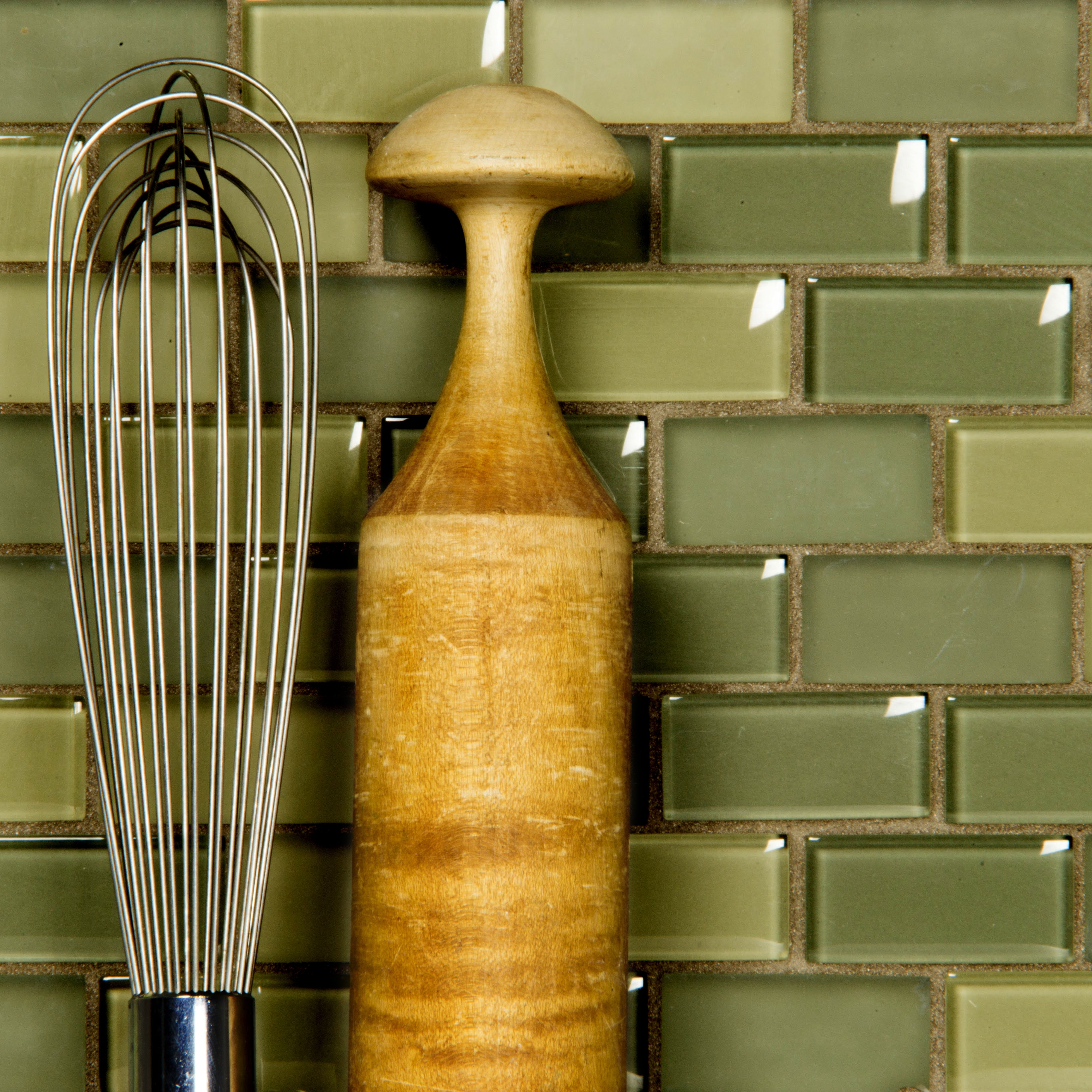 Free Flow 1 in x 2 in Glass Brick Mosaic in SPA Blend