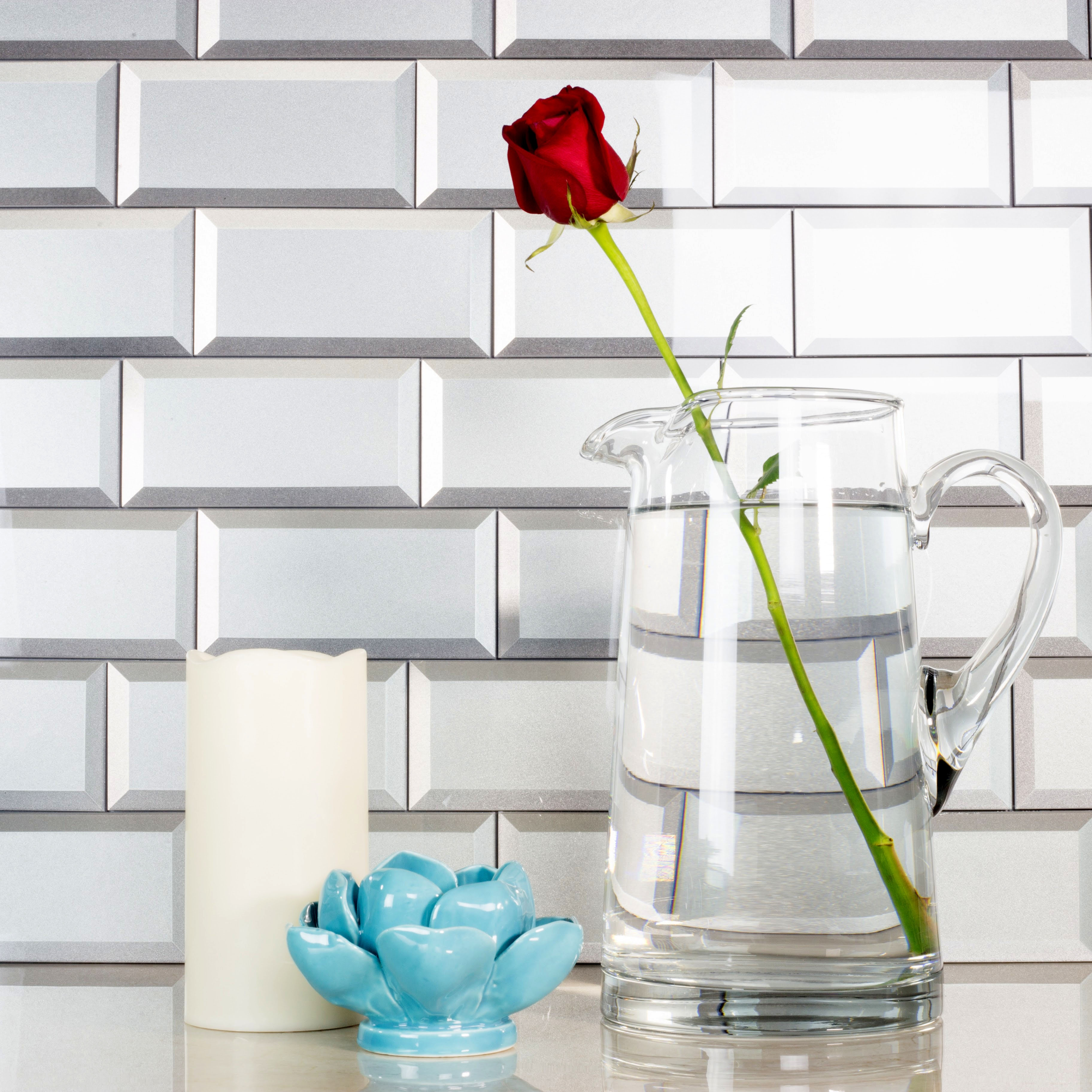 Forever 3 in x 6 in Glass Subway Tile in ETERNAL SILVER Beveled