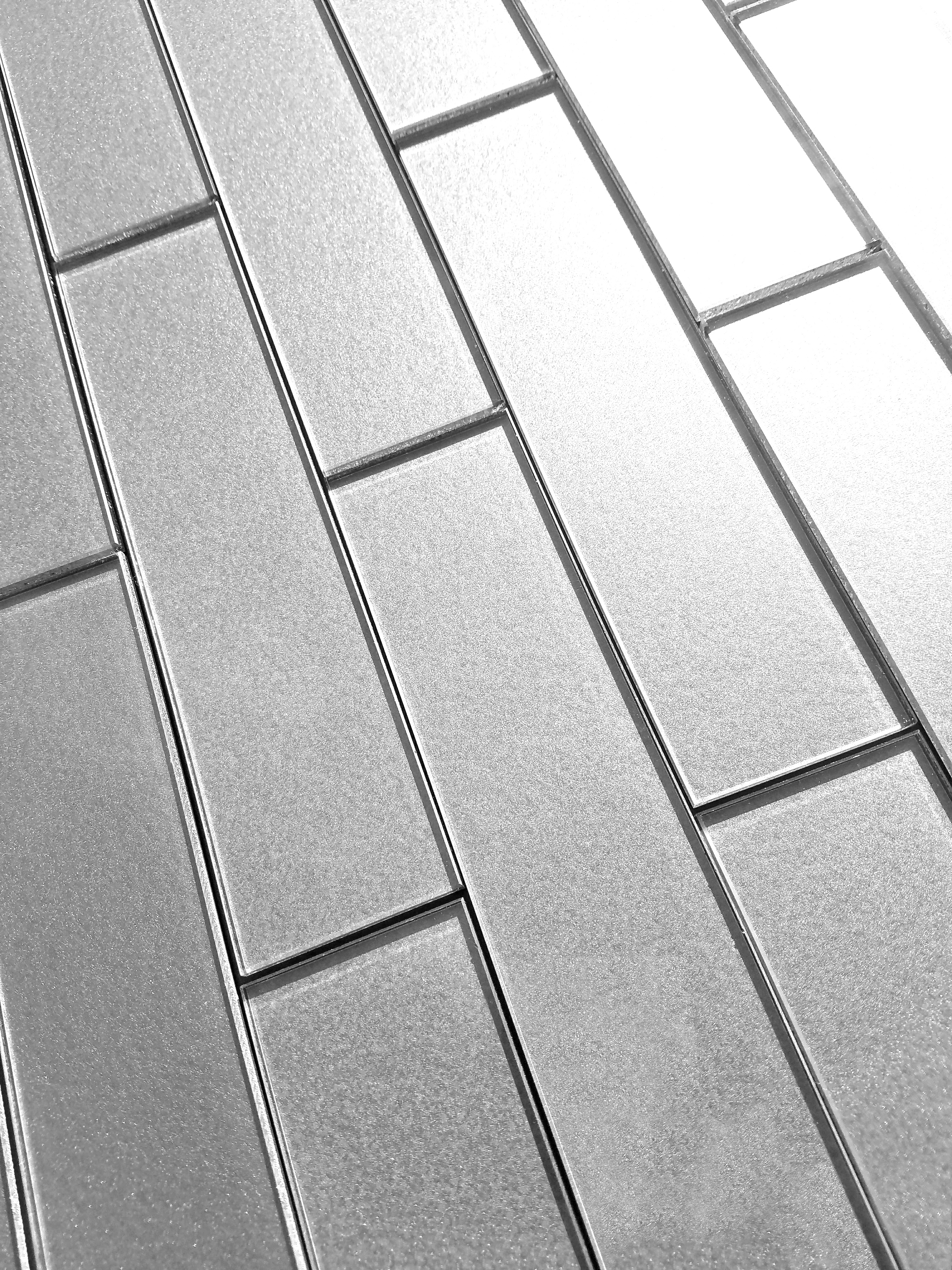 """Forever 2"""" x 8"""" Glossy Straight Silver Glass Loose Backsplash Wall Tile"""