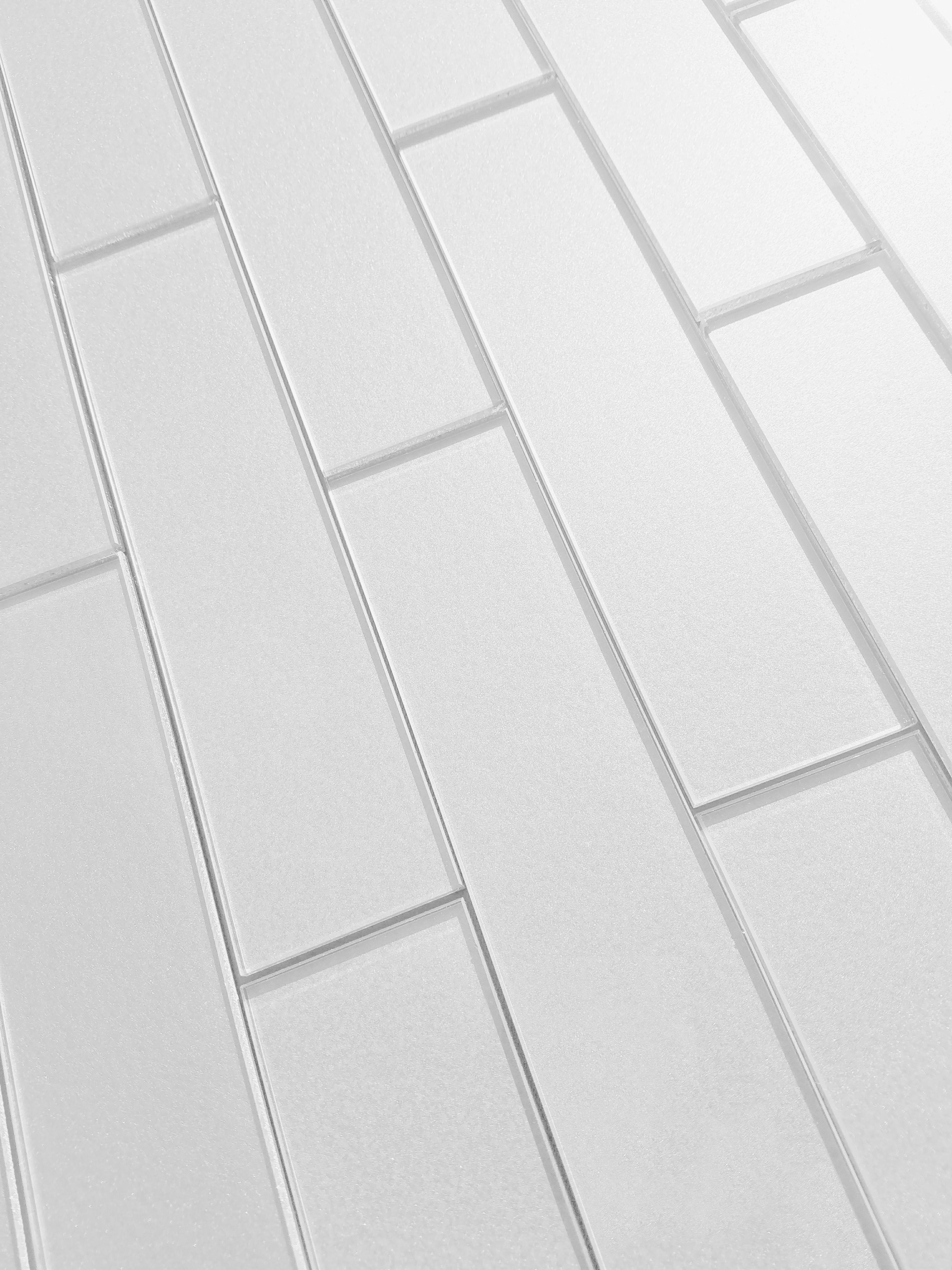 "Forever 2"" x 8"" Glossy Straight White Glass Loose Backsplash Wall Tile"