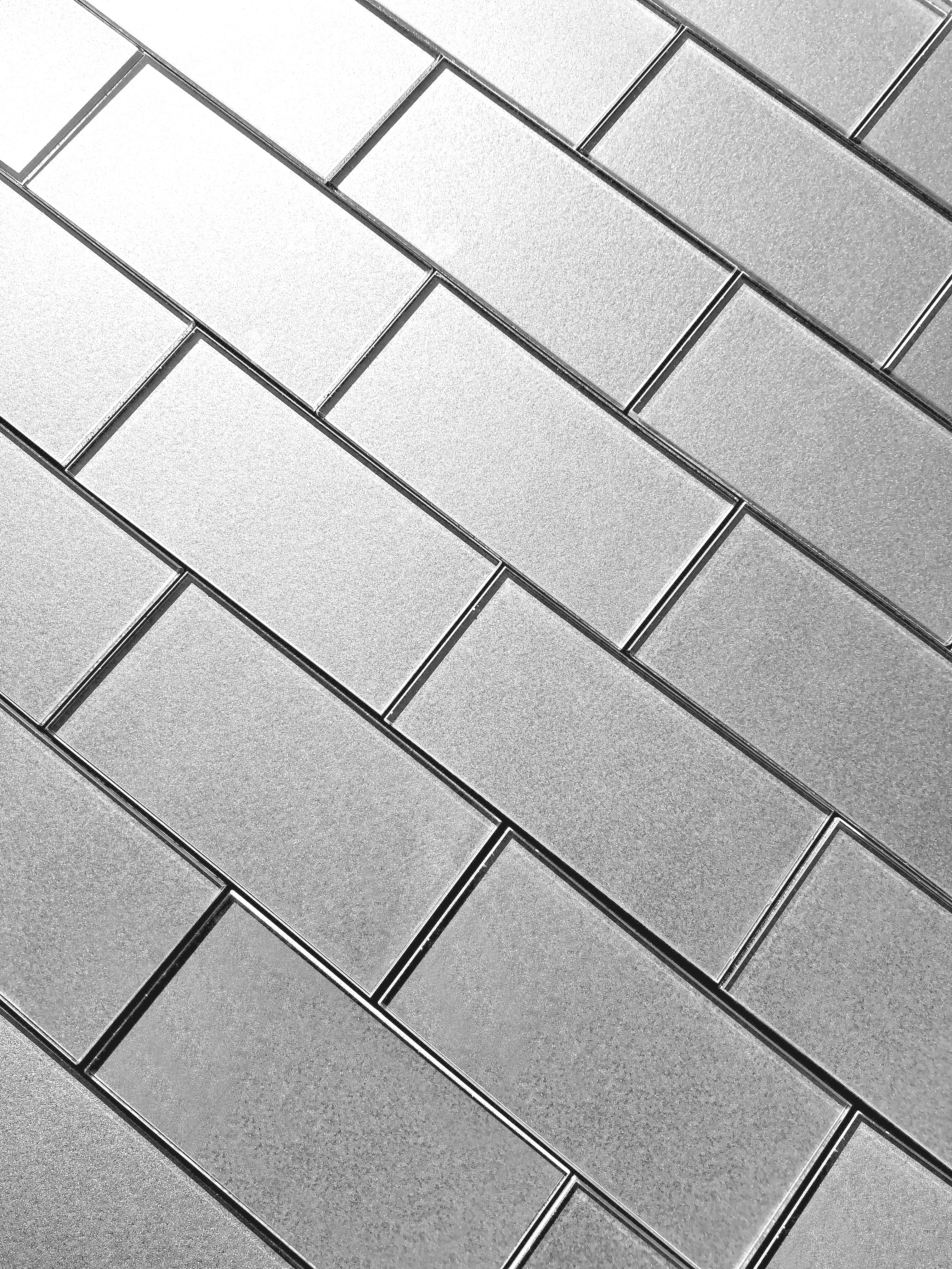 Forever 3 in x 6 in Glass Subway Tile in ETERNAL SILVER Glossy Straight