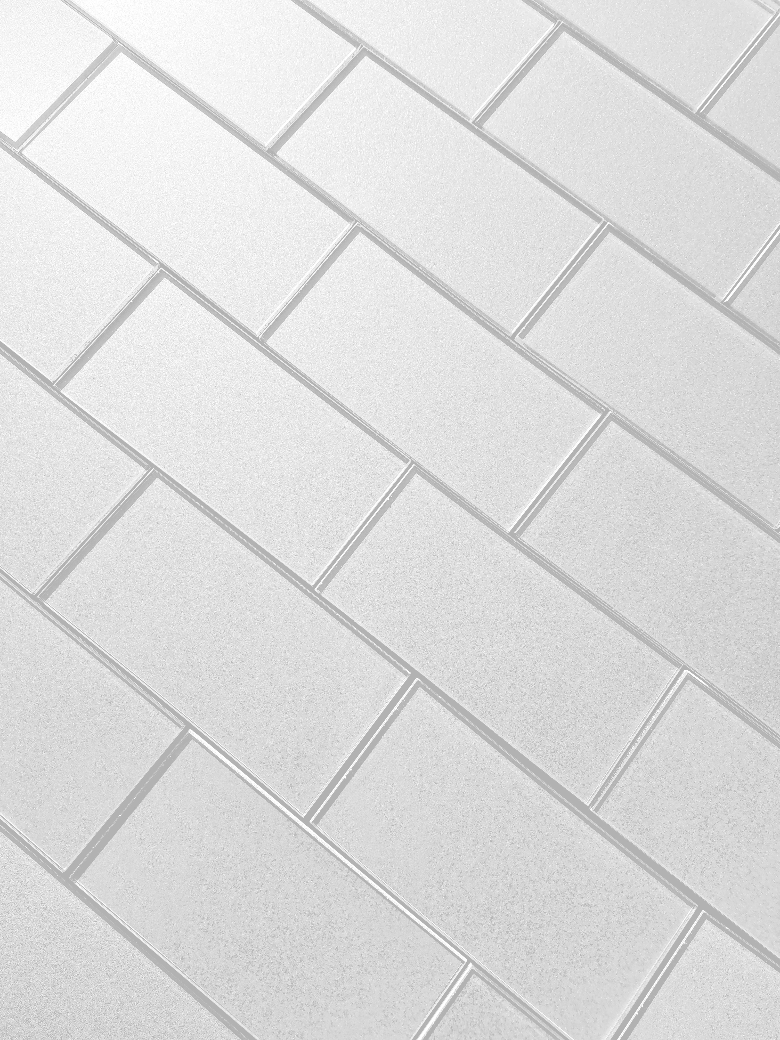 Forever 3 in x 6 in Glass Subway Tile in ETERNAL WHITE Glossy Straight