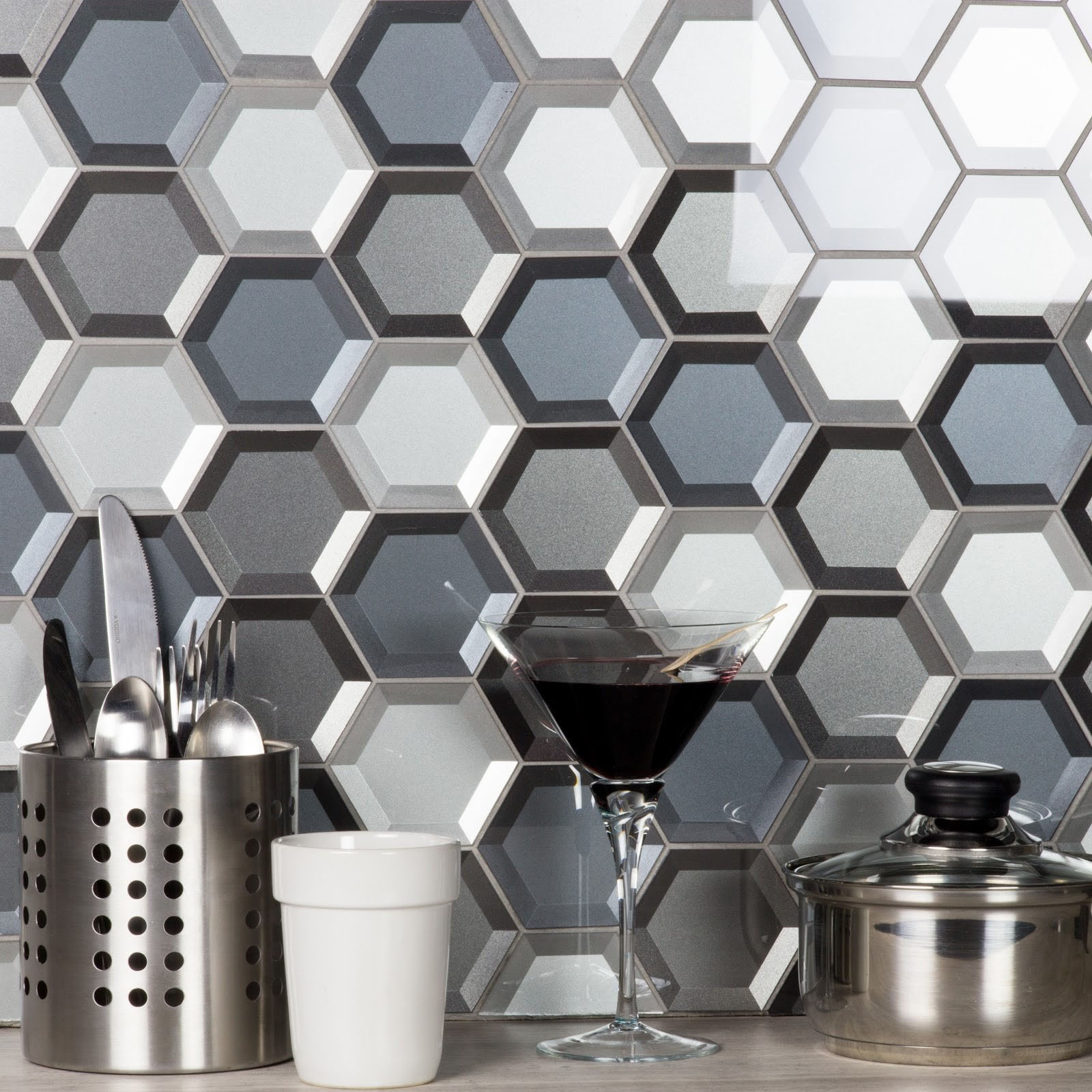 Forever 3 in x 3 in Glass Hexagon Mosaic in COLD GRAY Beveled