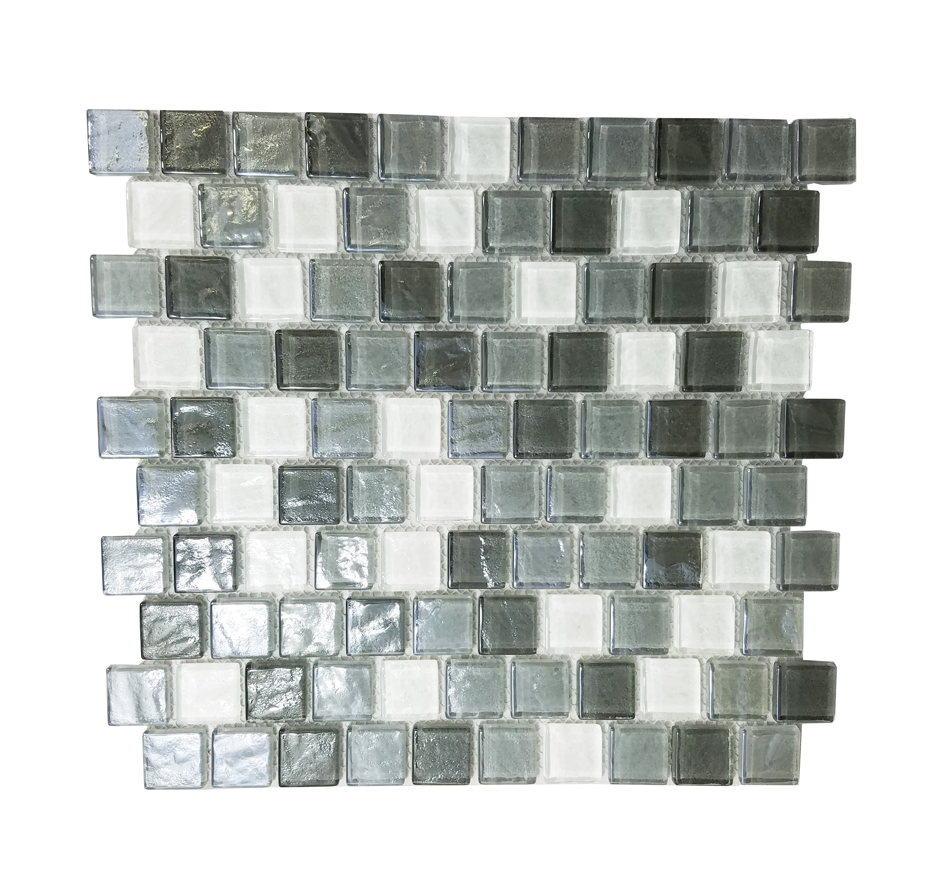 "Geo 1"" x 1"" Textured Gray Glass Square Backsplash Mosaic Wall Tile"