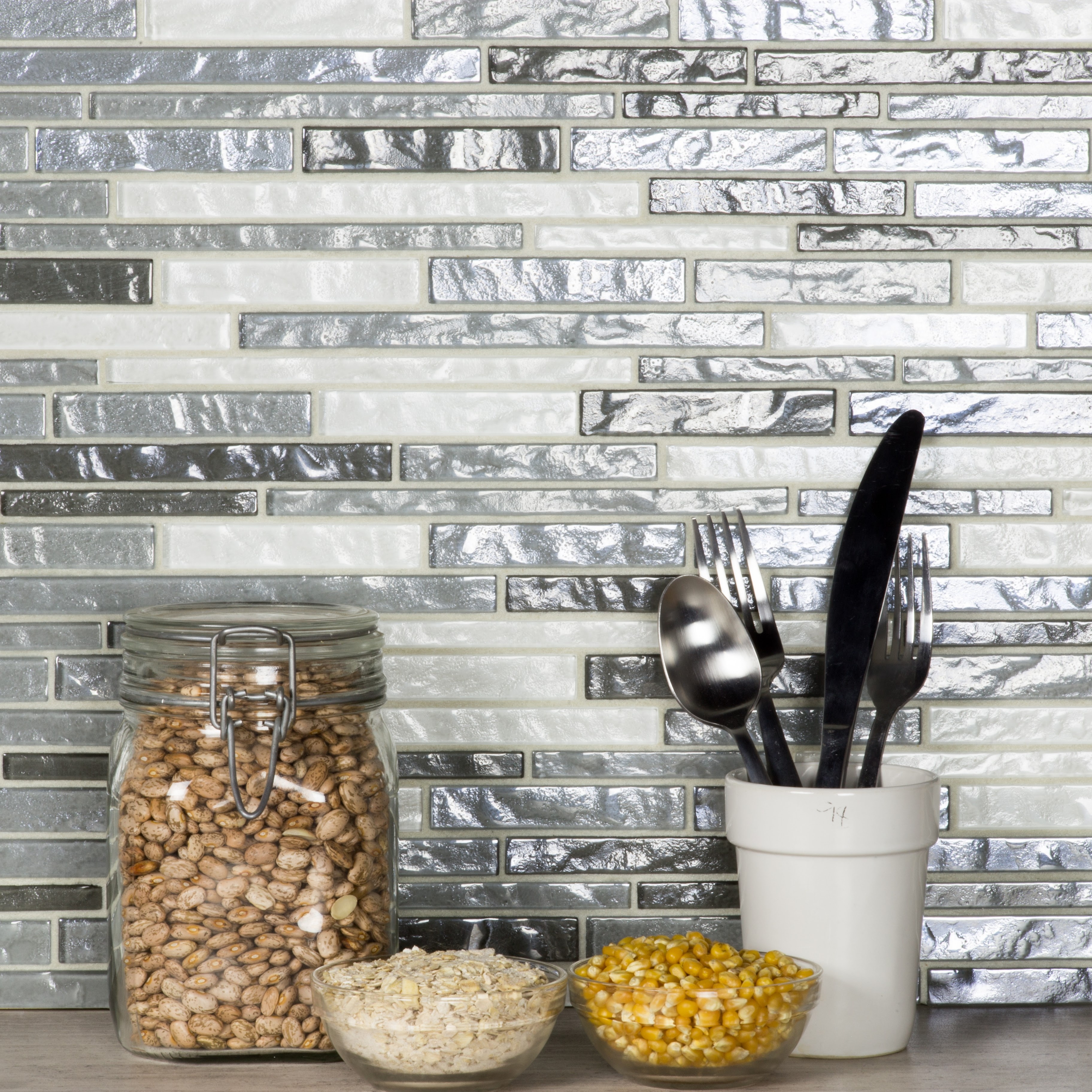 Geo 15.25 in x 11.75 in Glass Linear Mosaic in WHISTLER Textured
