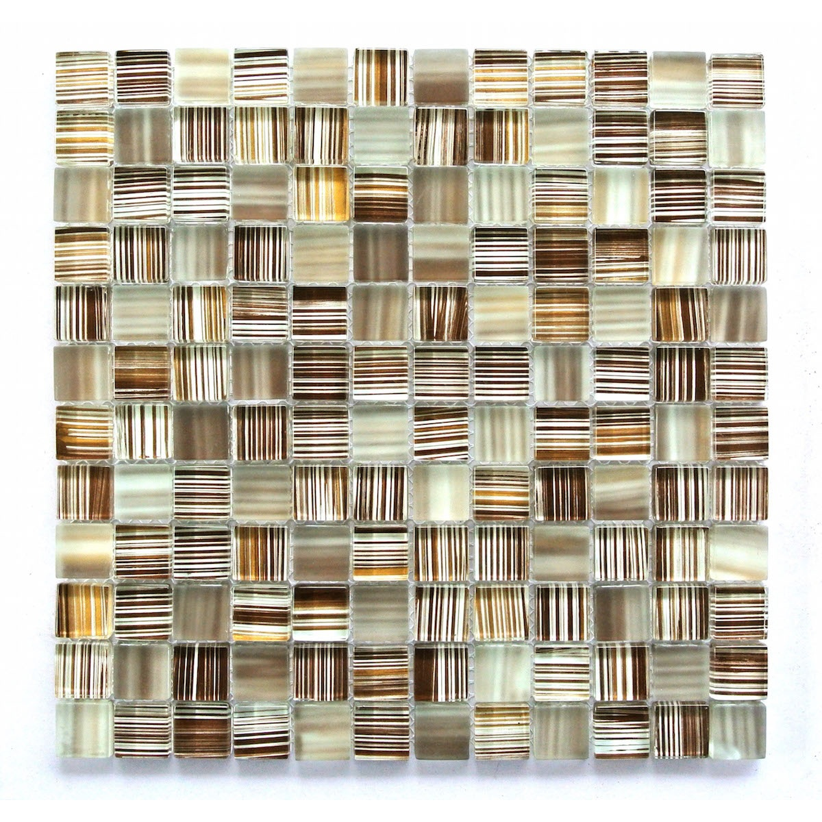 Handicraft 1 in x 1 in Glass Square Mosaic in TOFFEE Glossy
