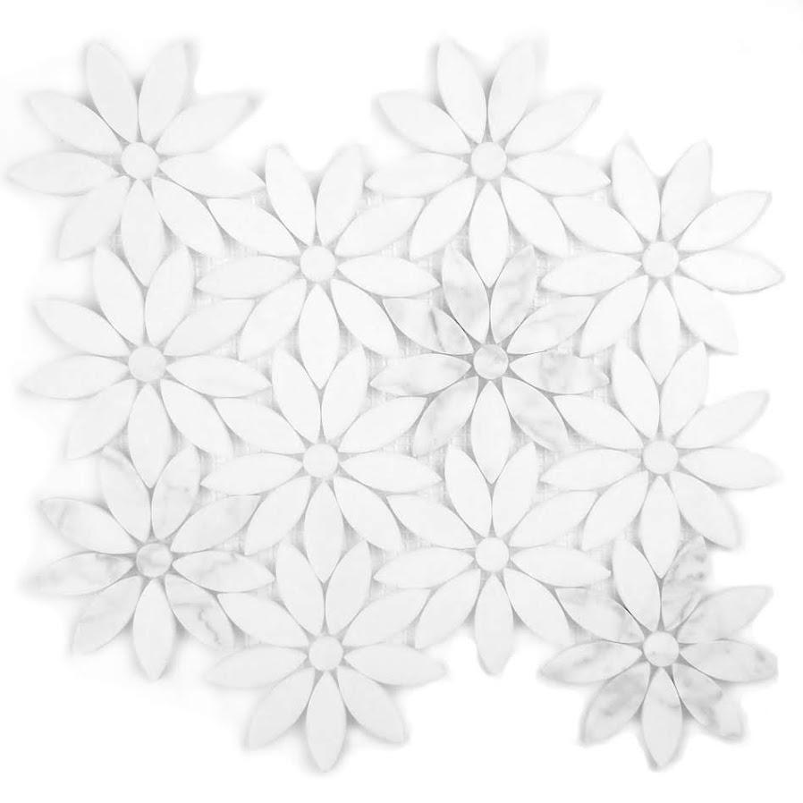 Marble 4 in x 4 in Marble Flower Waterjet Mosaic in CARRARA WHITE Simi-Gloss