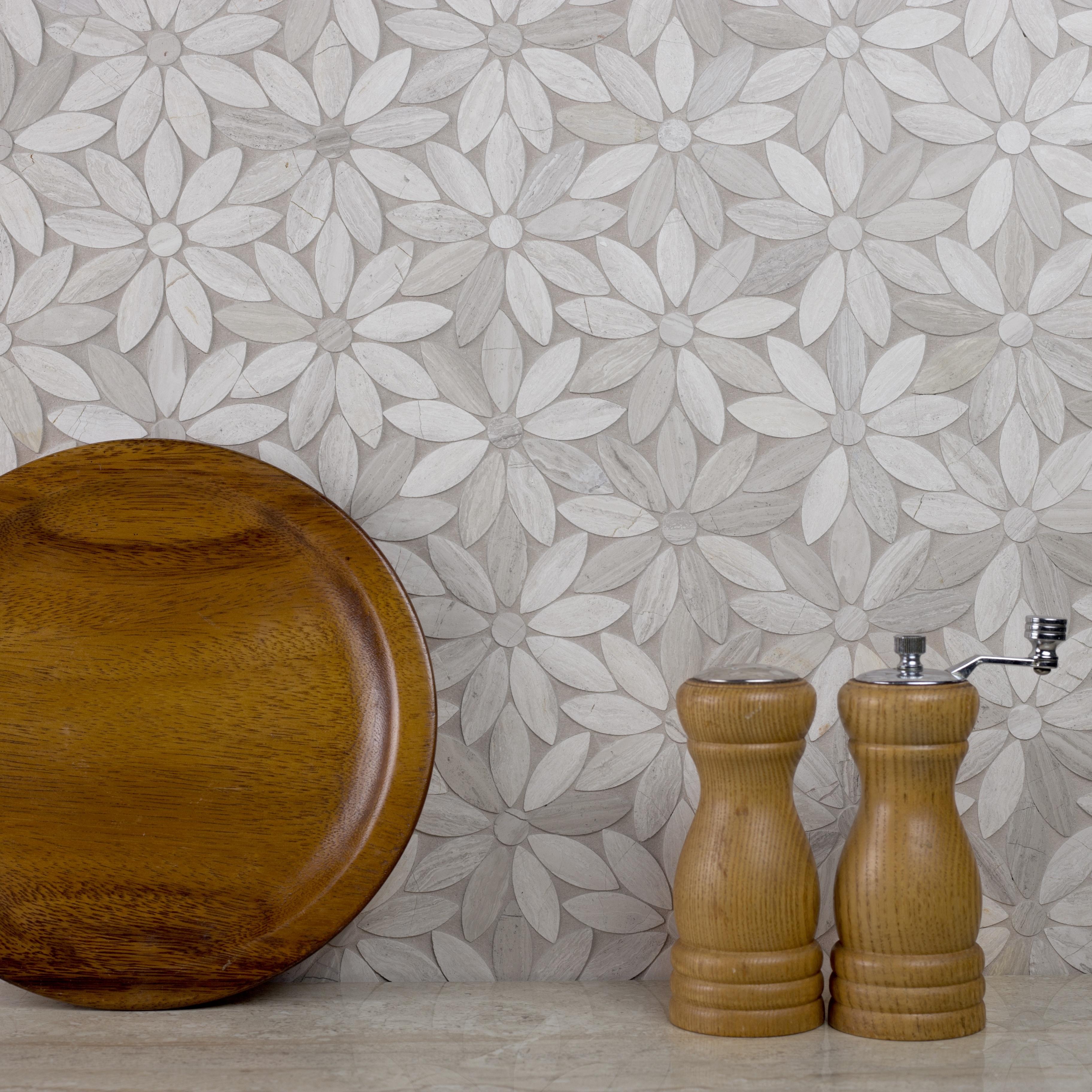 Marble 4 in x 4 in Marble Flower Waterjet Mosaic in ROYAL BEIGE Simi-Gloss