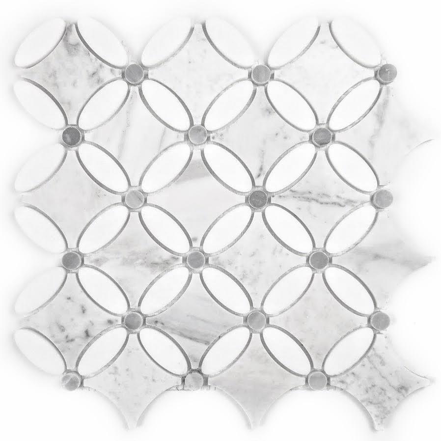 "Marble 5"" x 5.25"" Semi-Gloss White Marble Oval Waterjet Backsplash Mosaic Wall & Floor Tile"